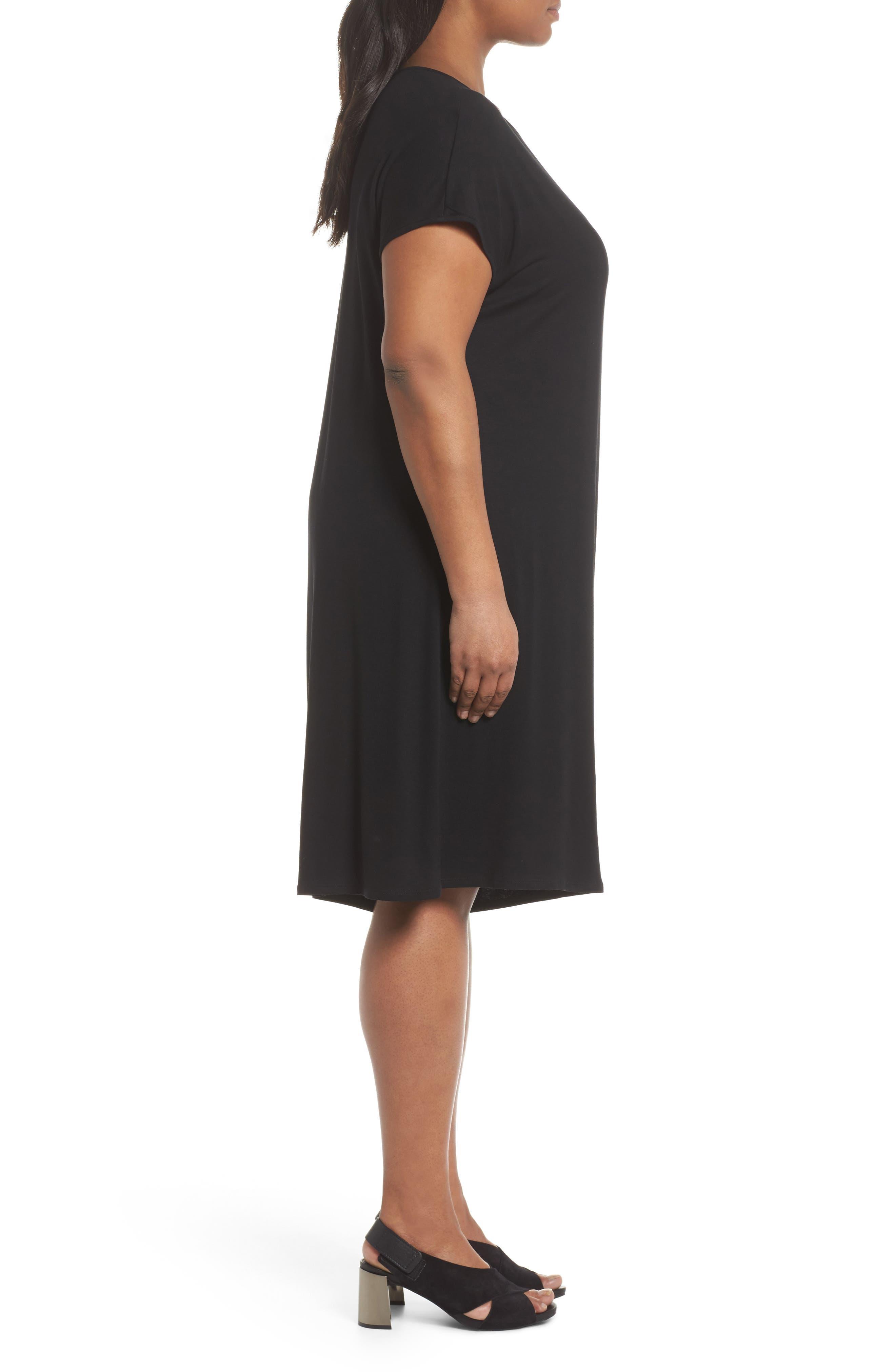 Asymmetrical Drape Jersey Dress,                             Alternate thumbnail 3, color,                             001