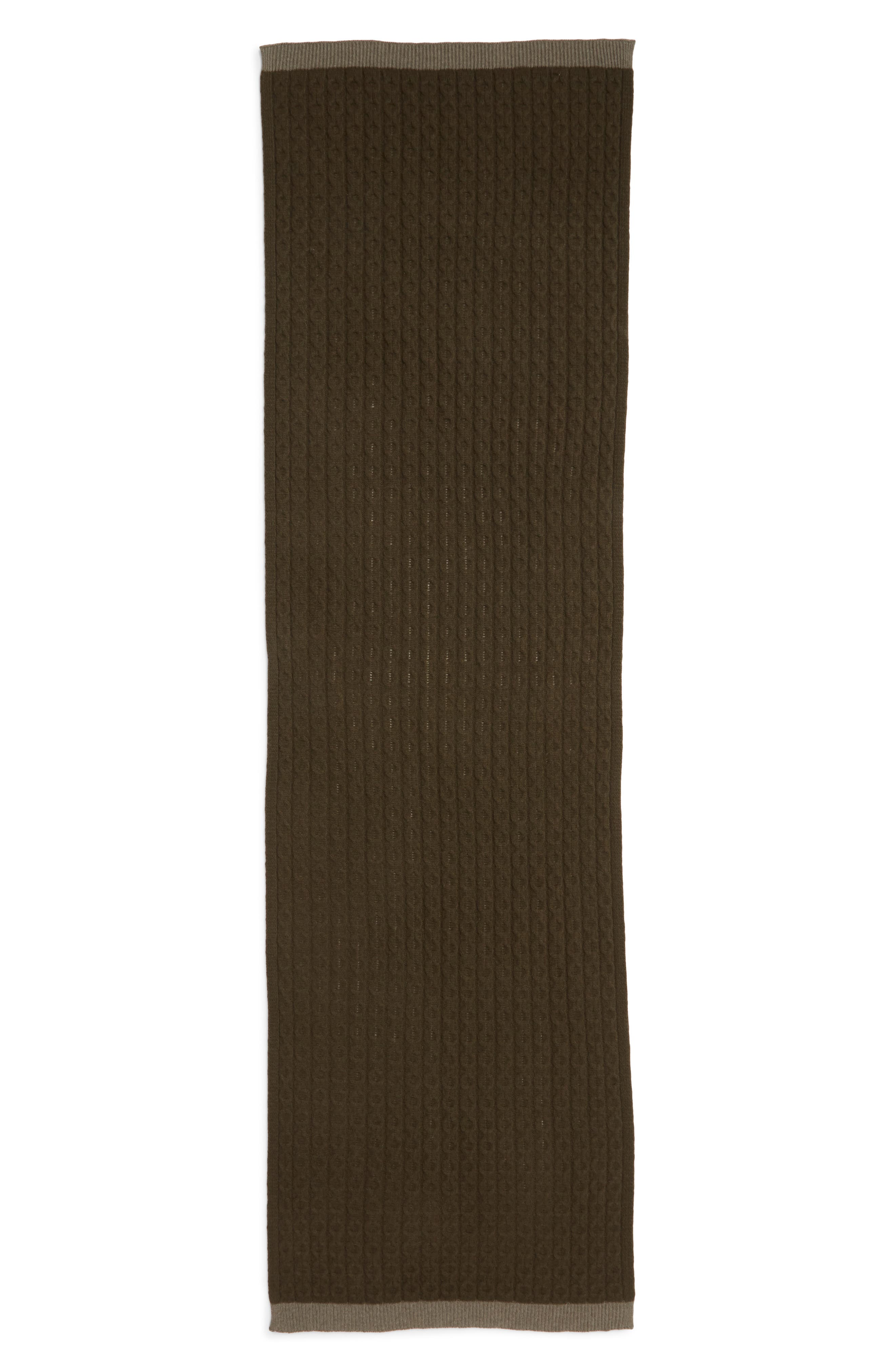 Cable Knit Cashmere Scarf,                             Alternate thumbnail 3, color,                             OLIVE COMBO