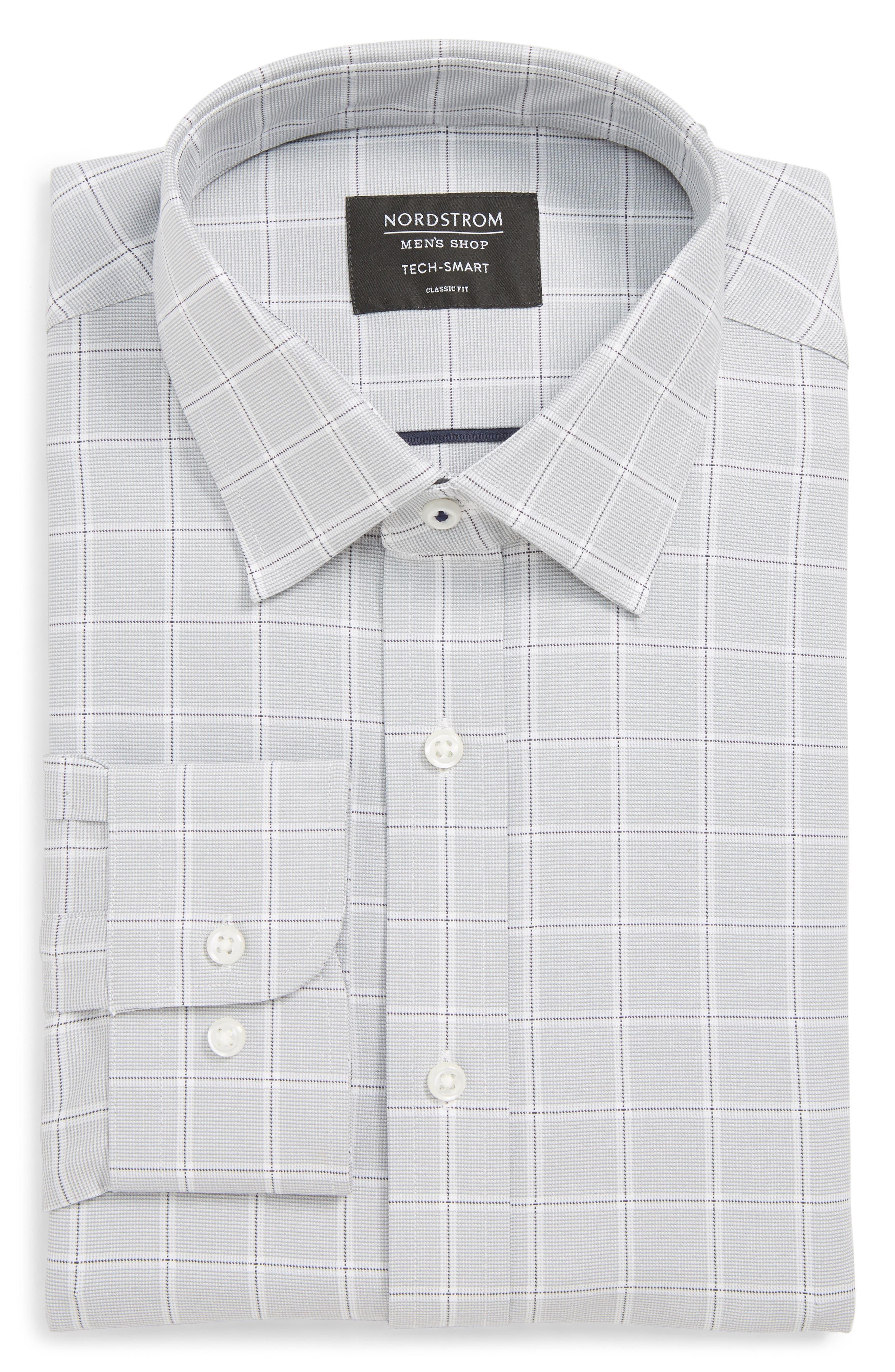 Tech-Smart Traditional Fit Stretch Check Dress Shirt,                         Main,                         color, GREY SLEET