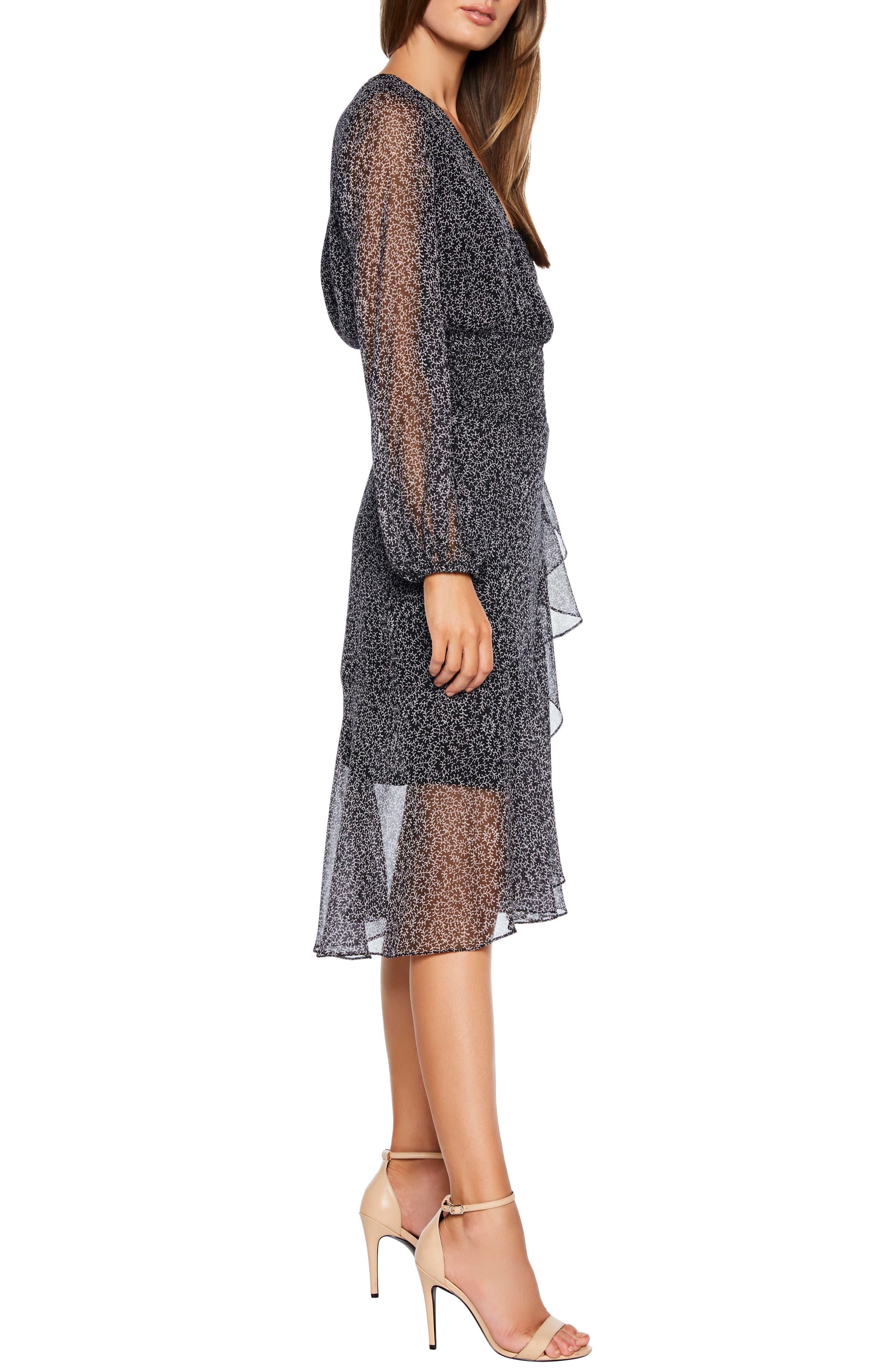 BARDOT,                             Sally Faux Chiffon Wrap Dress,                             Alternate thumbnail 3, color,                             ABSTRACT PAISLEY