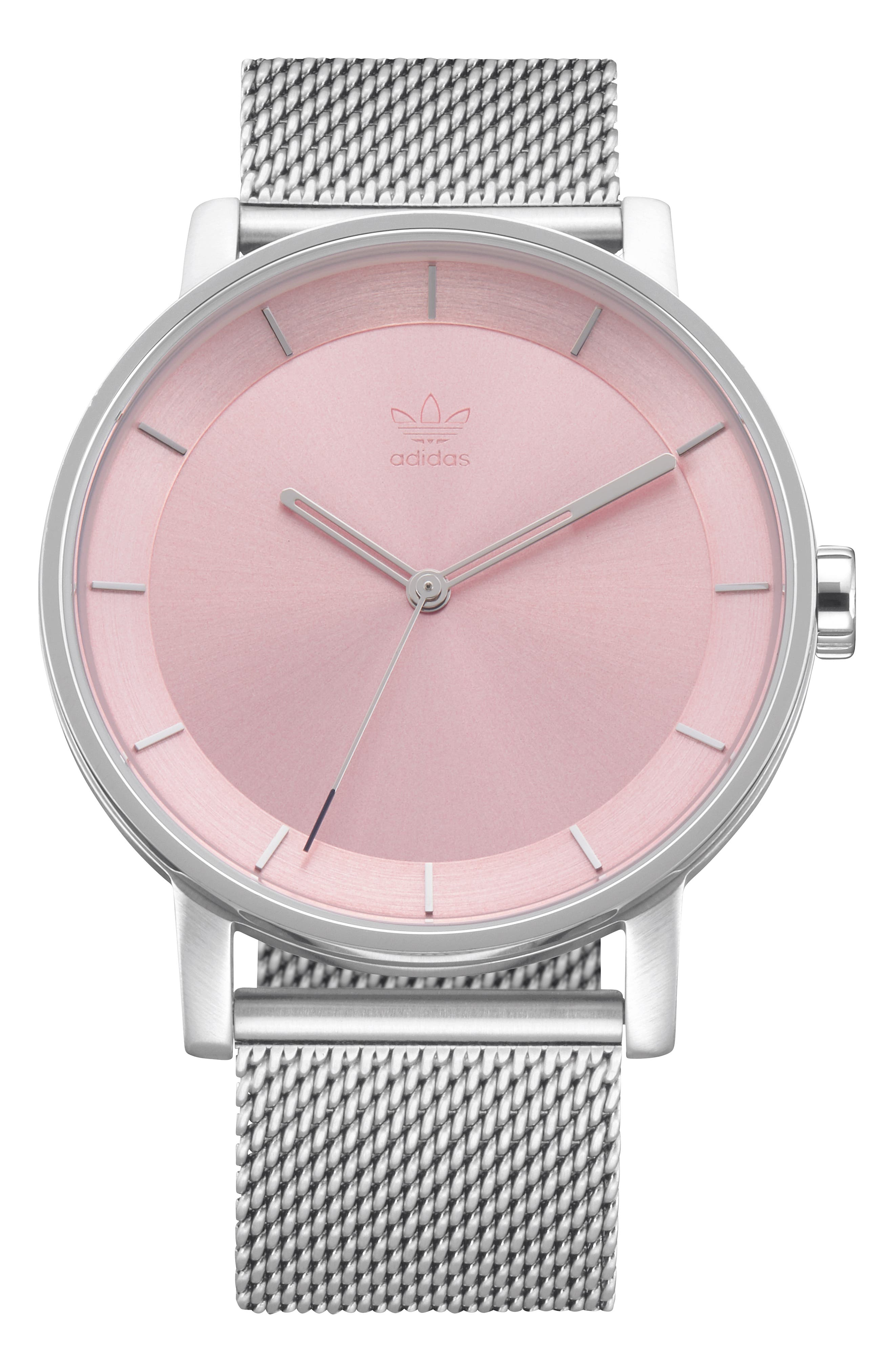 District Milanese Bracelet Watch, 40mm,                         Main,                         color, SILVER/ PINK/ SILVER