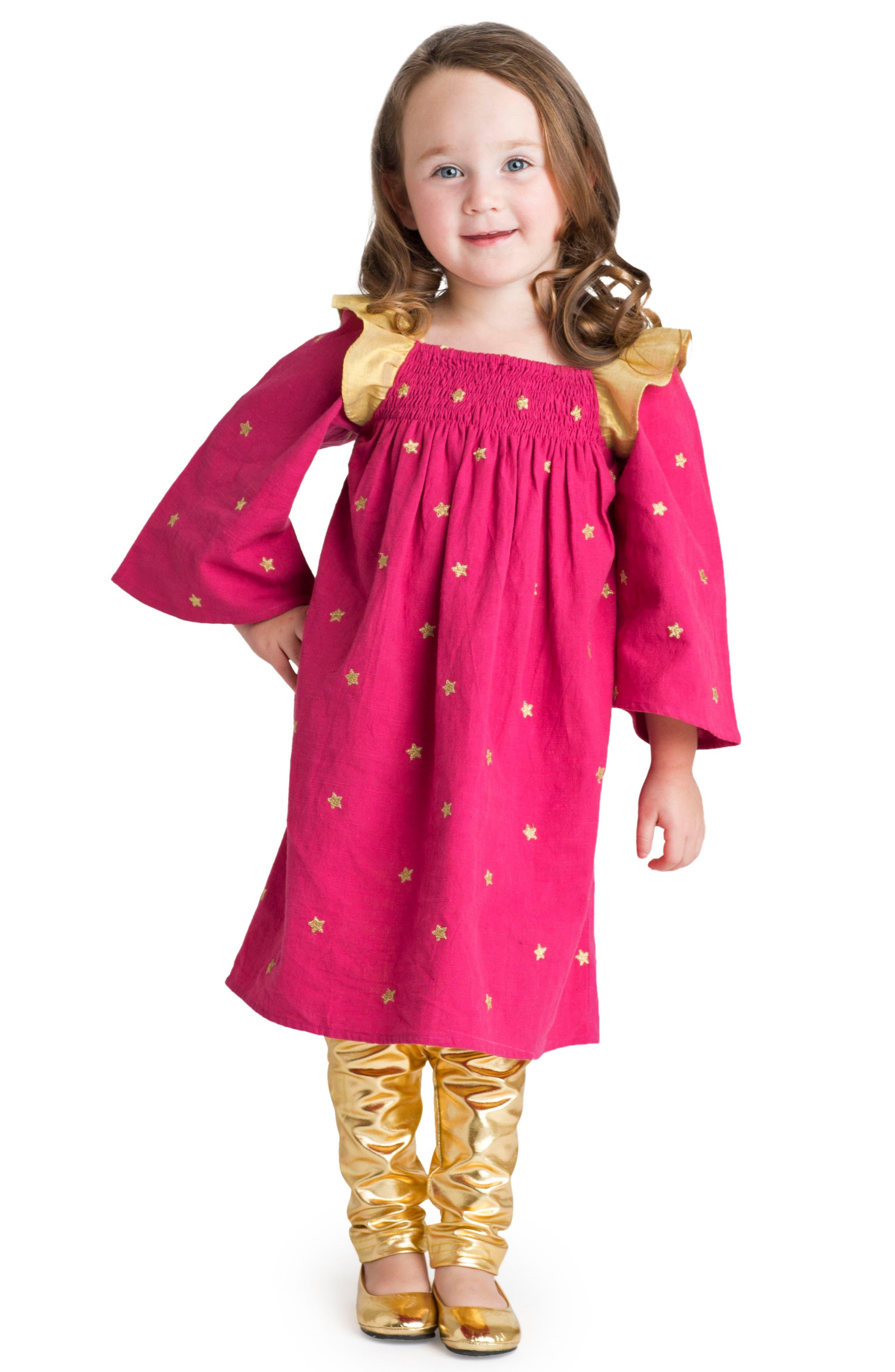 Galaxy Star Flutter Sleeve Dress,                         Main,                         color, 504