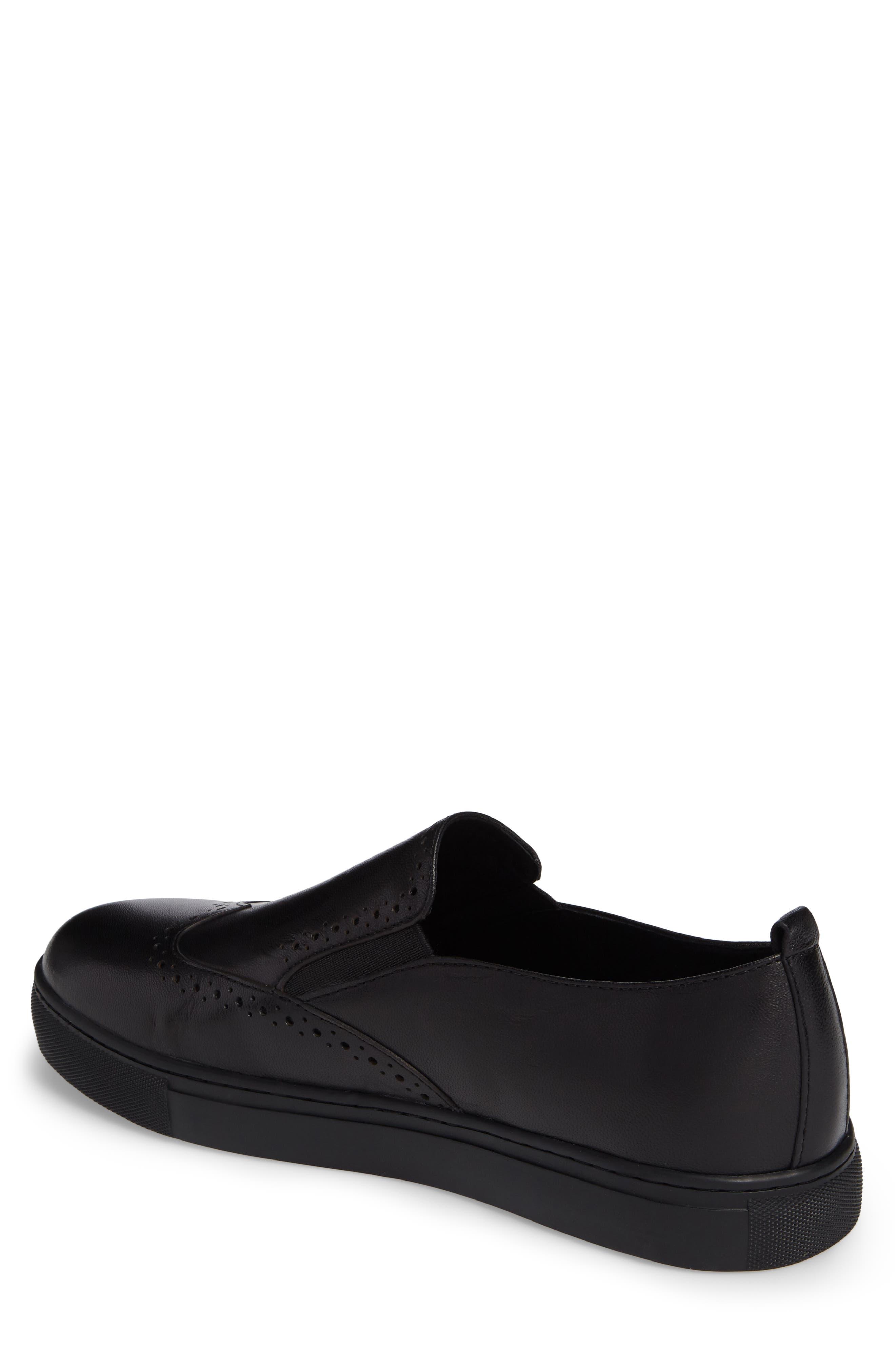 Bacher Wingtip Slip-On Sneaker,                             Alternate thumbnail 2, color,                             001