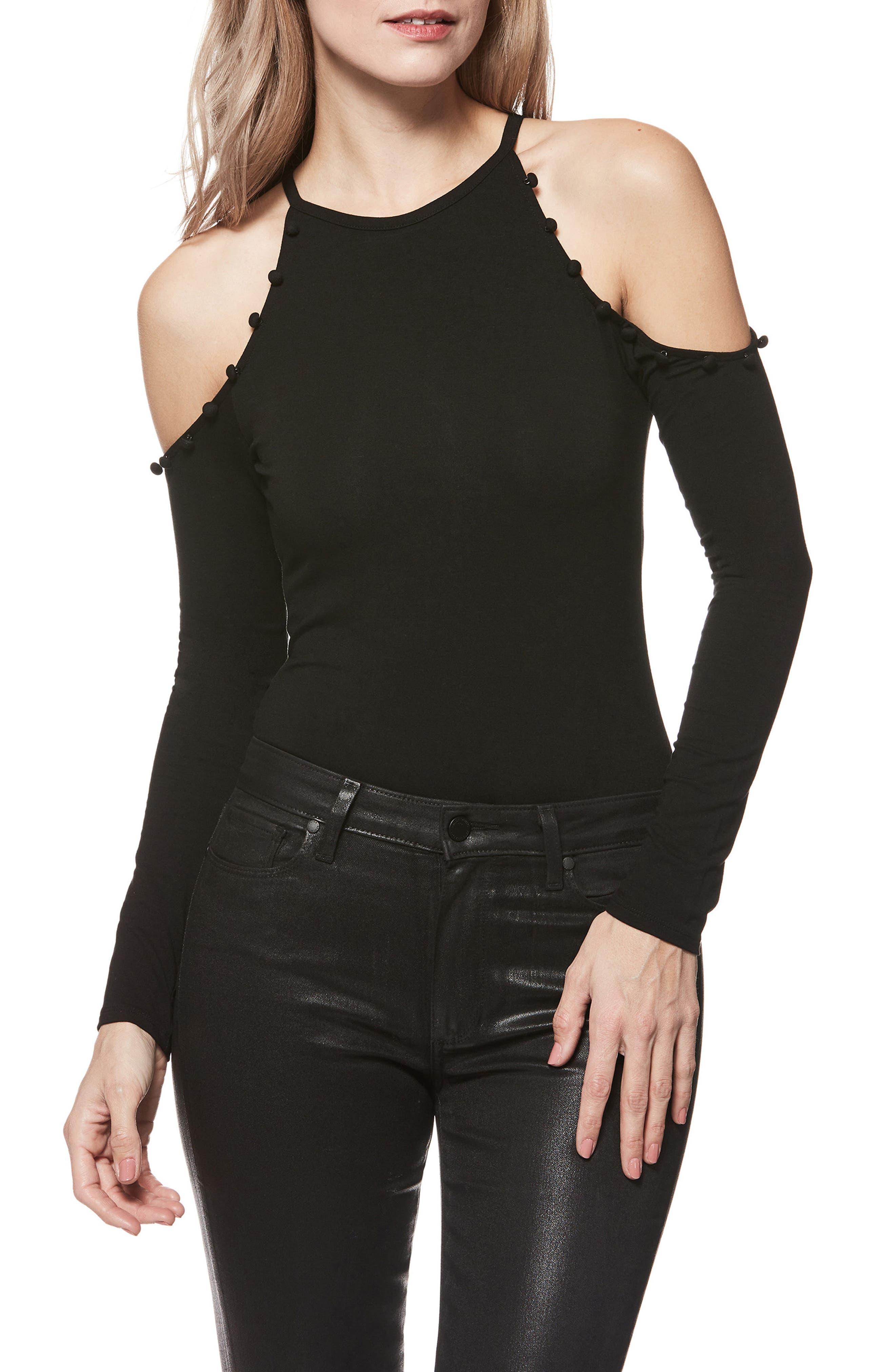Siana Cold-Shoulder Bodysuit,                             Main thumbnail 1, color,                             001