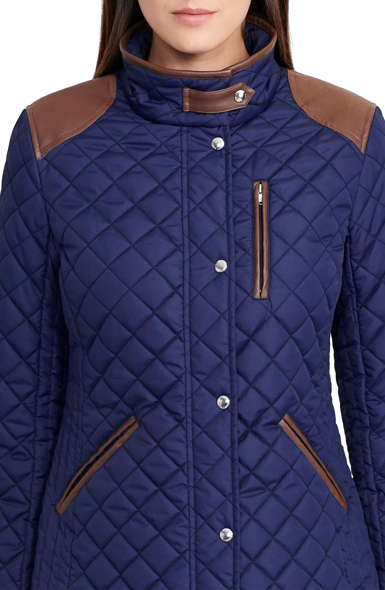 Faux Leather Trim Quilted Jacket,                             Alternate thumbnail 19, color,