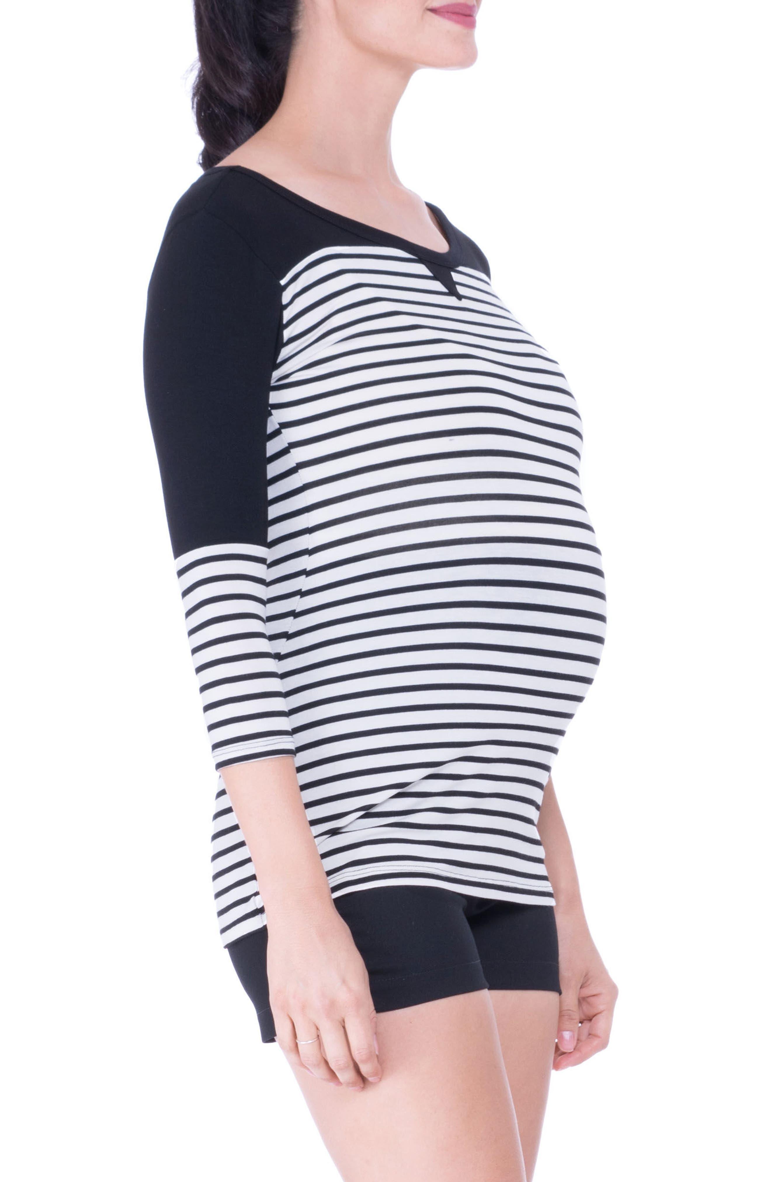 Stripe Maternity Tee,                             Alternate thumbnail 3, color,                             BLACK/ WHITE