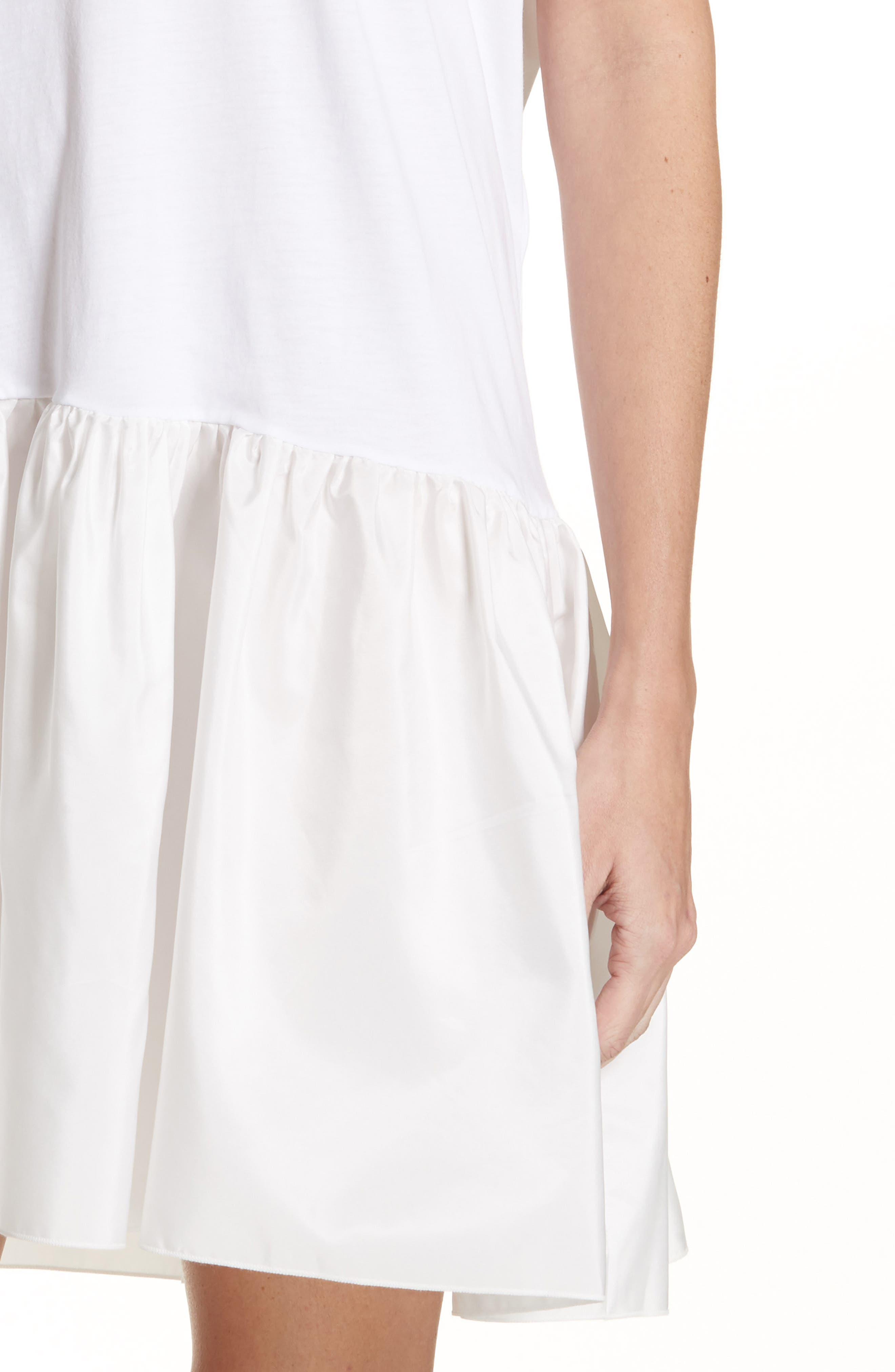 Drop Waist Taffeta Hem T-Shirt Dress,                             Alternate thumbnail 4, color,                             100