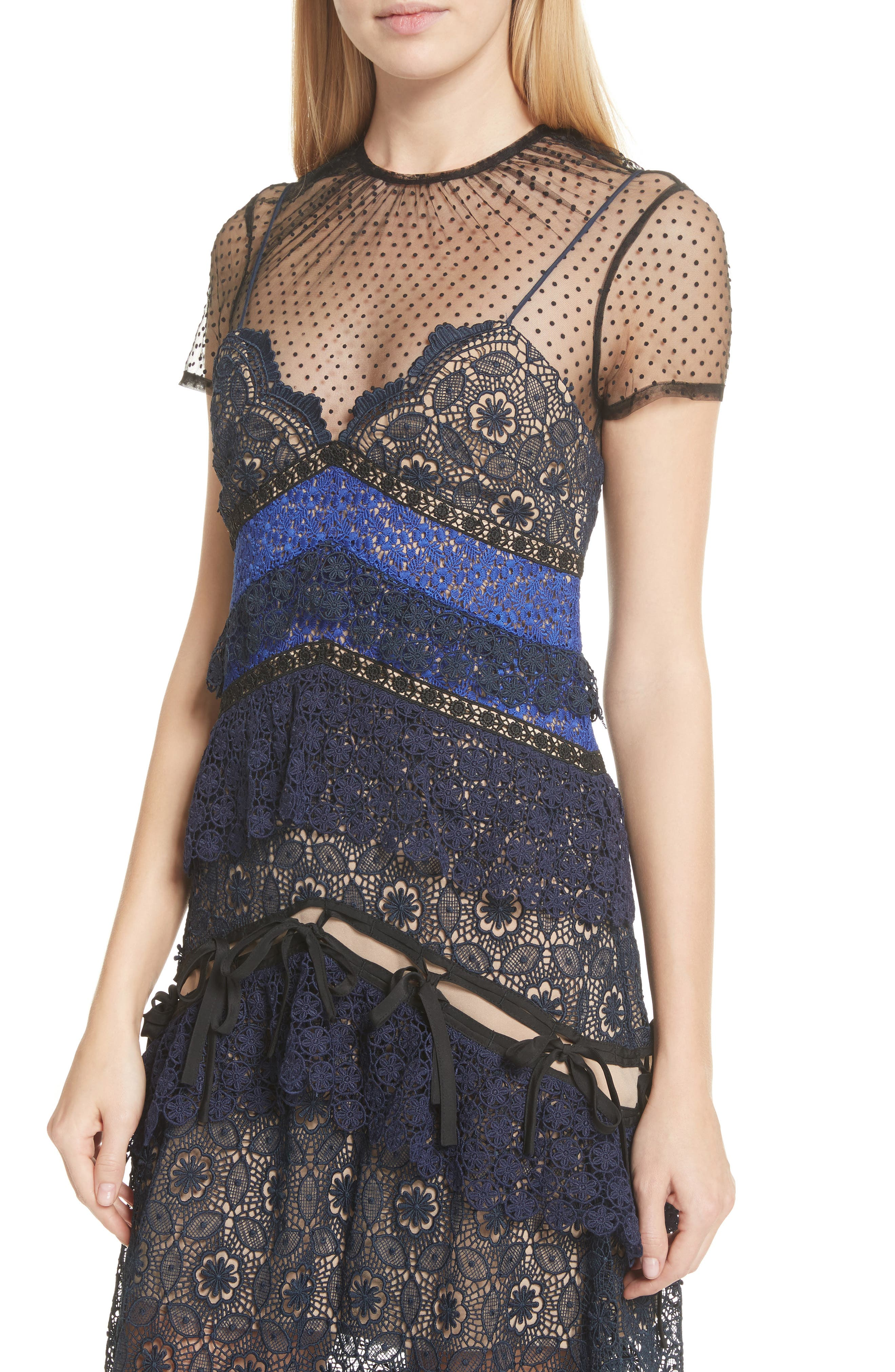 Paneled Lace Maxi Dress,                             Alternate thumbnail 4, color,                             400