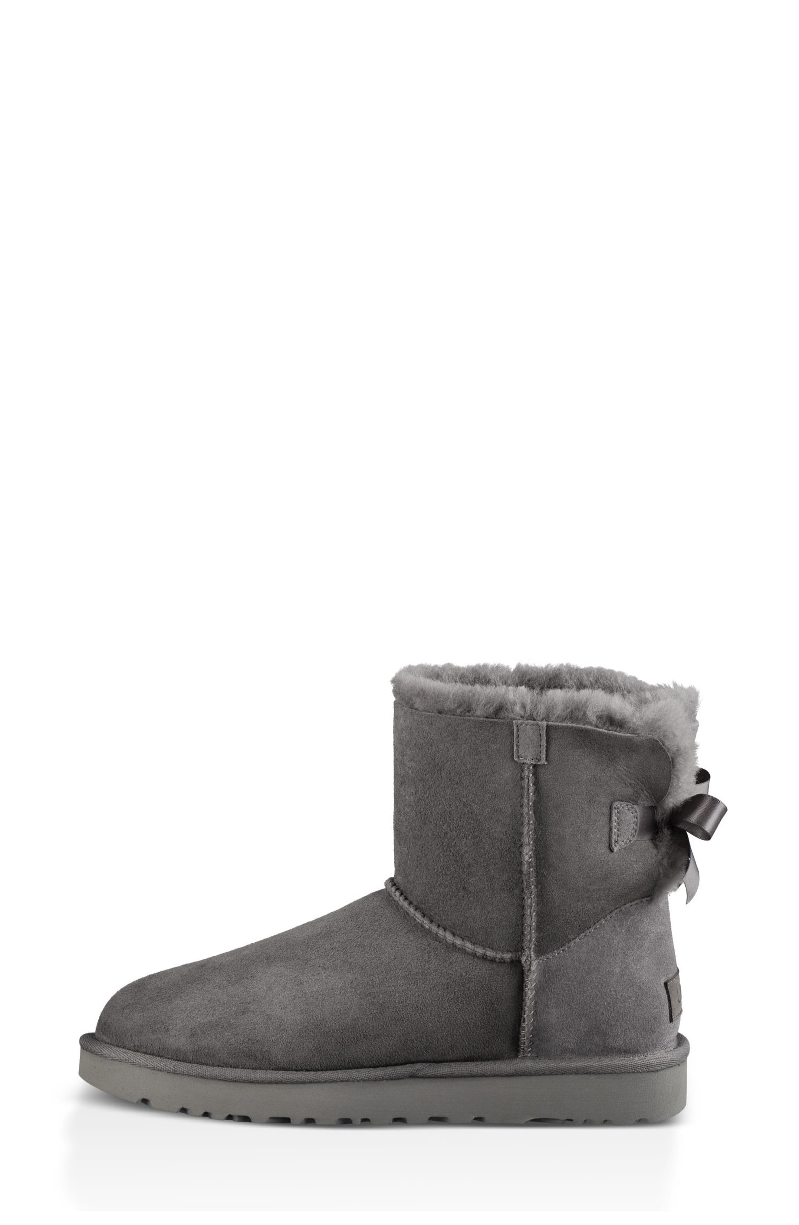 Mini Bailey Bow II Genuine Shearling Bootie,                             Alternate thumbnail 6, color,                             GREY SUEDE