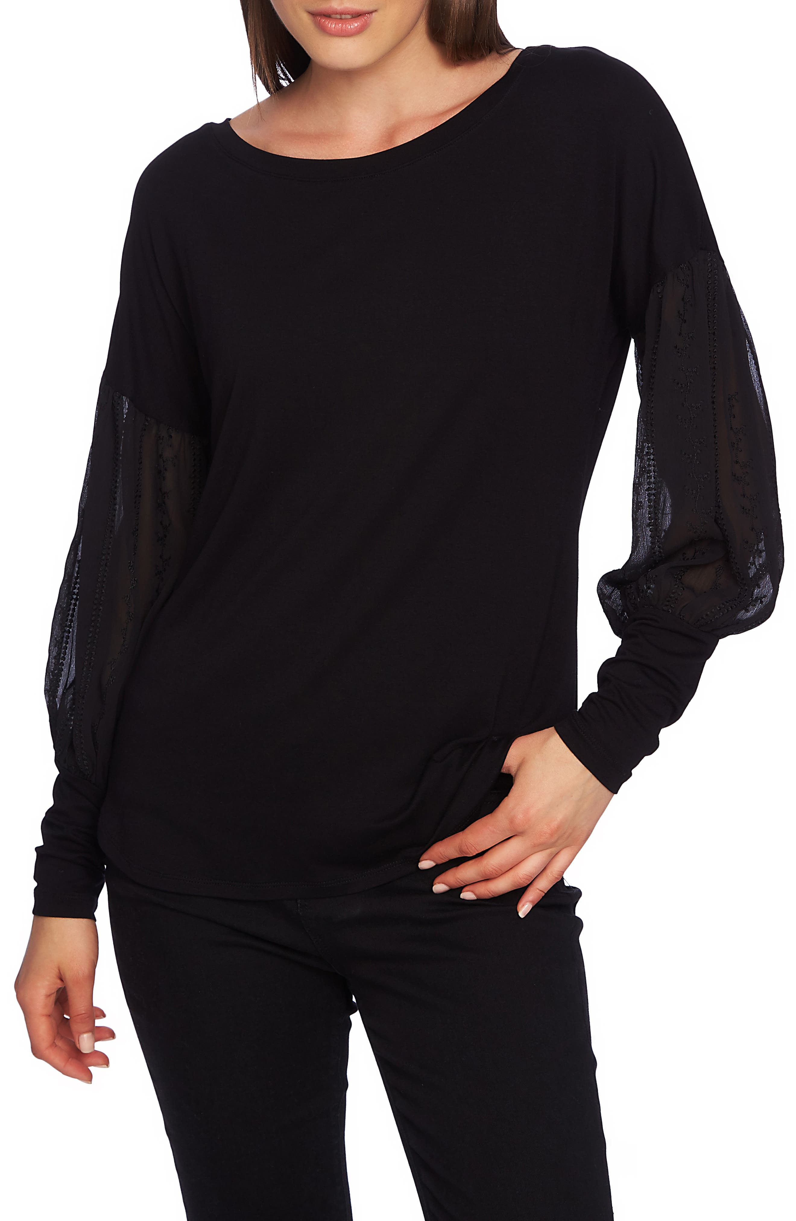 Embroidered Sleeve Swing Tee,                             Main thumbnail 1, color,                             RICH BLACK