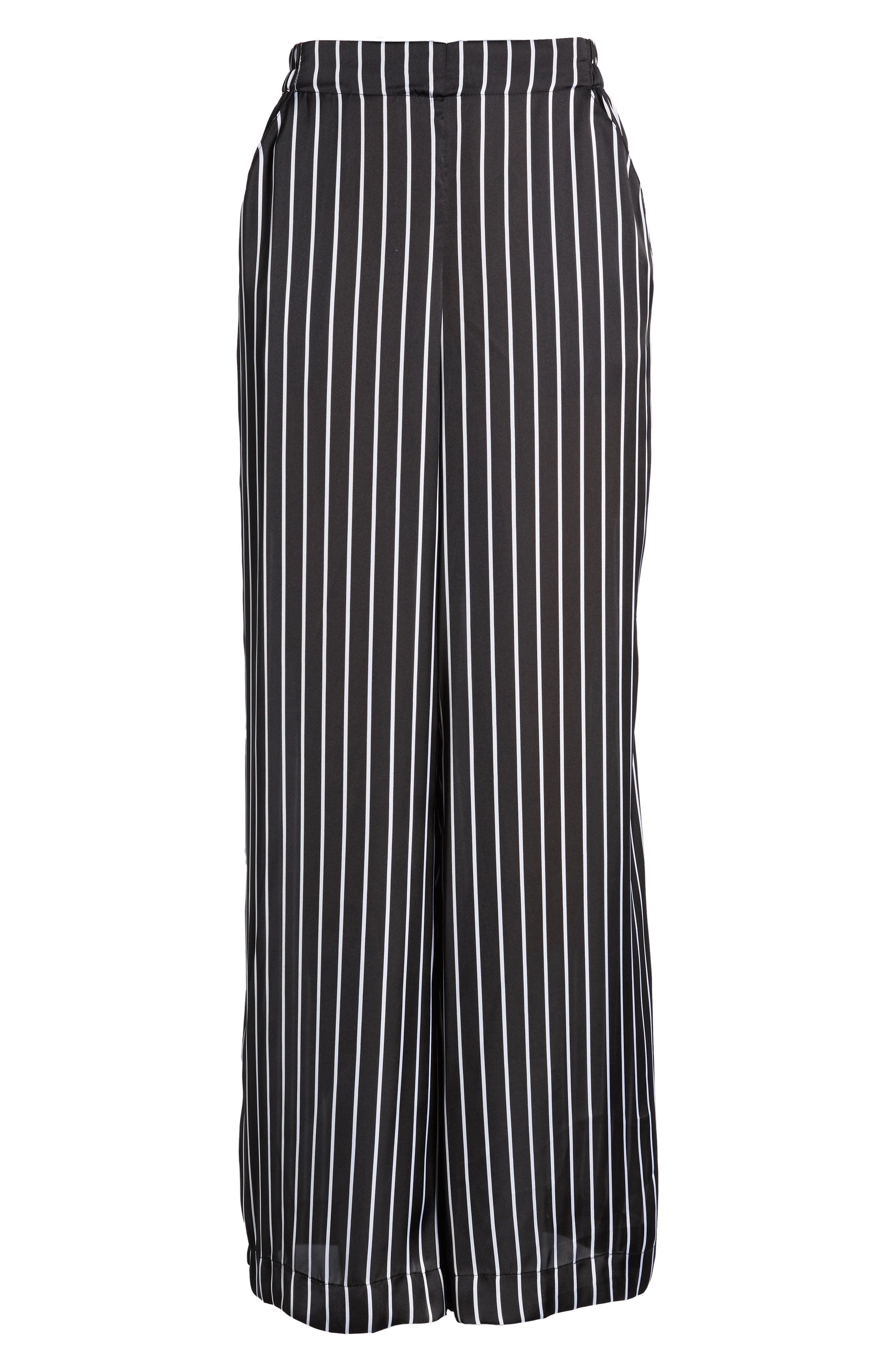 Kenneth Cole Wide Leg Pants,                             Alternate thumbnail 7, color,                             STREET STRIPE BLACK
