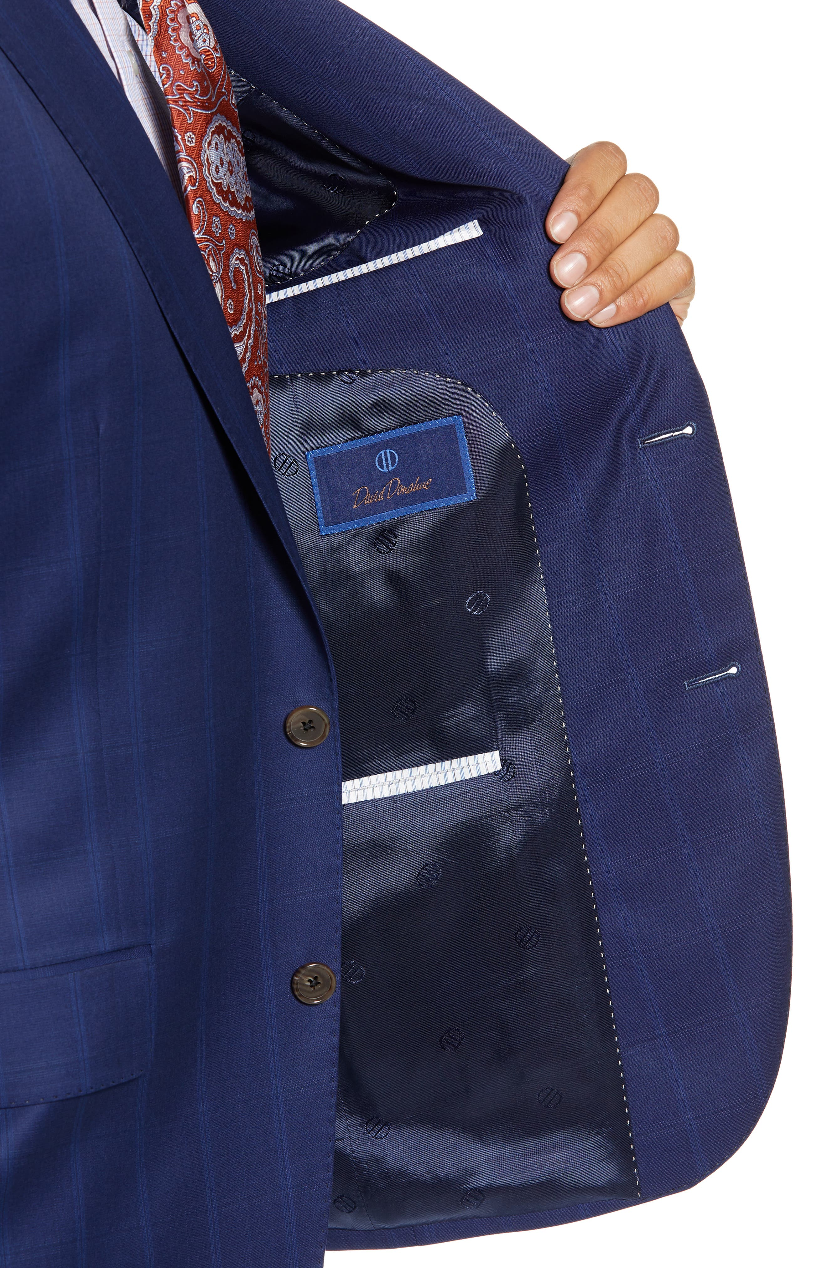 DAVID DONAHUE,                             Ryan Classic Fit Windowpane Wool Suit,                             Alternate thumbnail 4, color,                             400