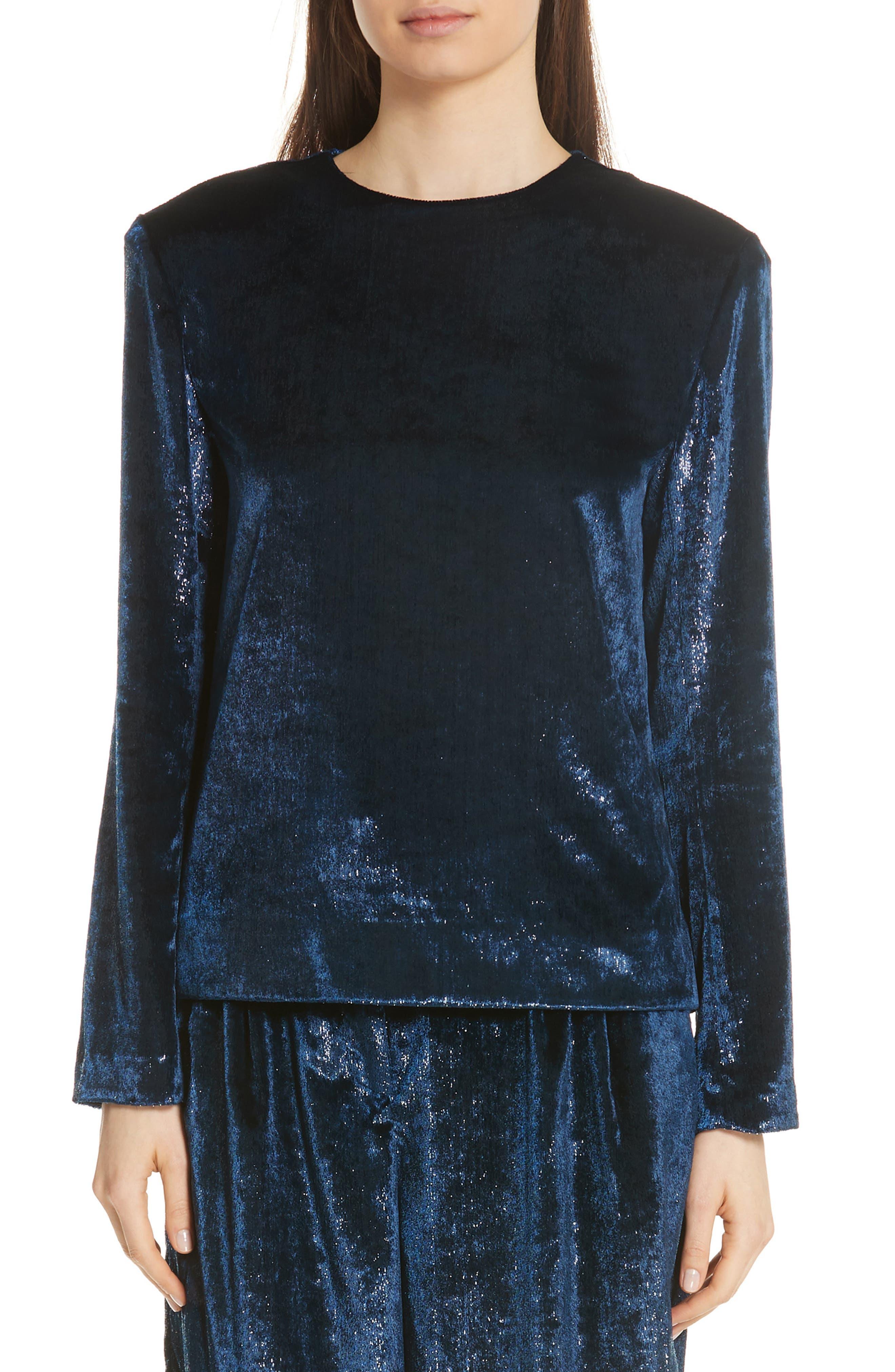 TIBI Tess Long-Sleeve Metallic Velvet Top in Blue
