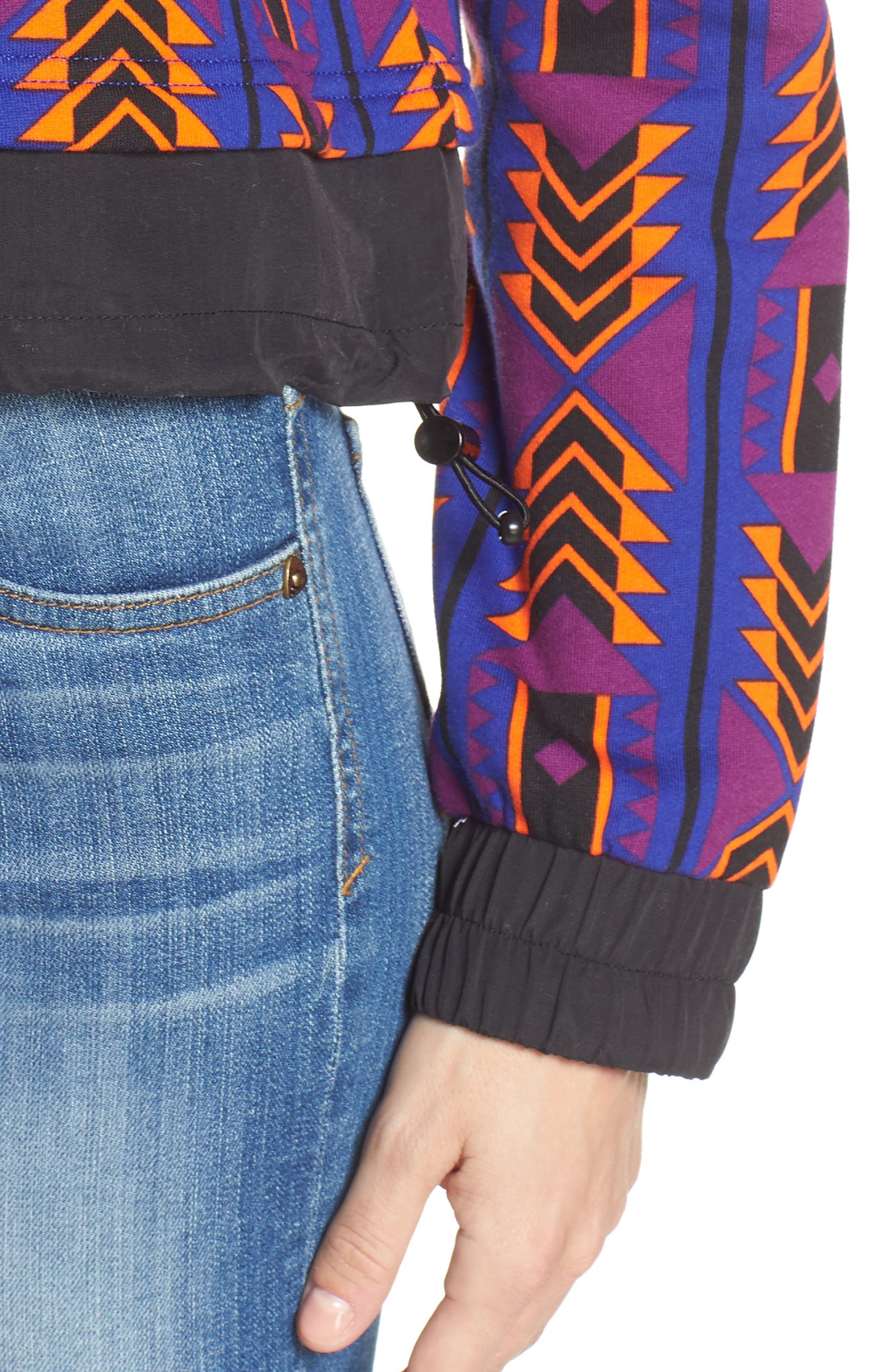 92 Rage Crop Fleece Sweatshirt,                             Alternate thumbnail 4, color,                             AZTEC BLUE 1992 RAGE PRINT