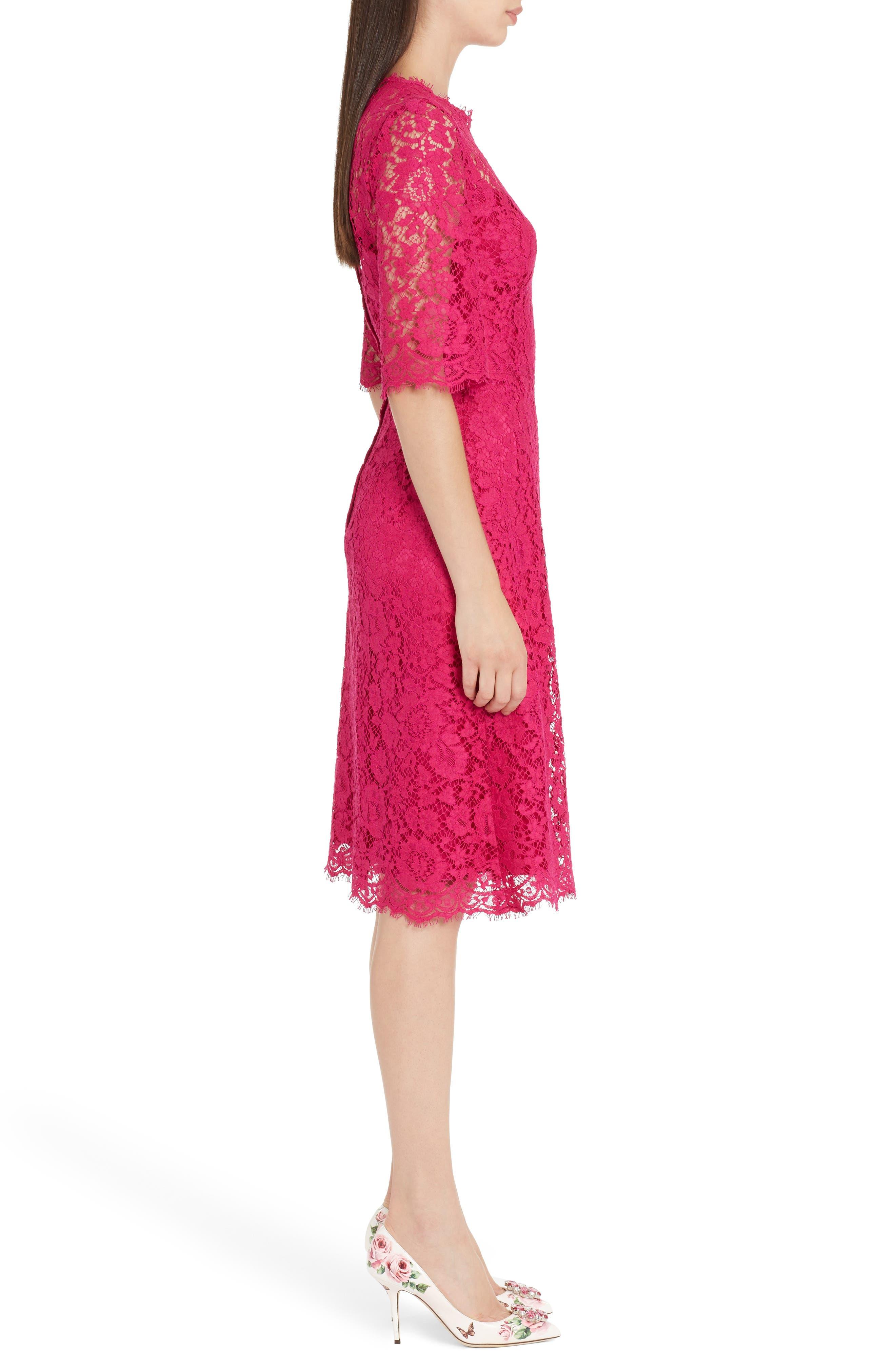 Lace A-Line Dress,                             Alternate thumbnail 3, color,                             651