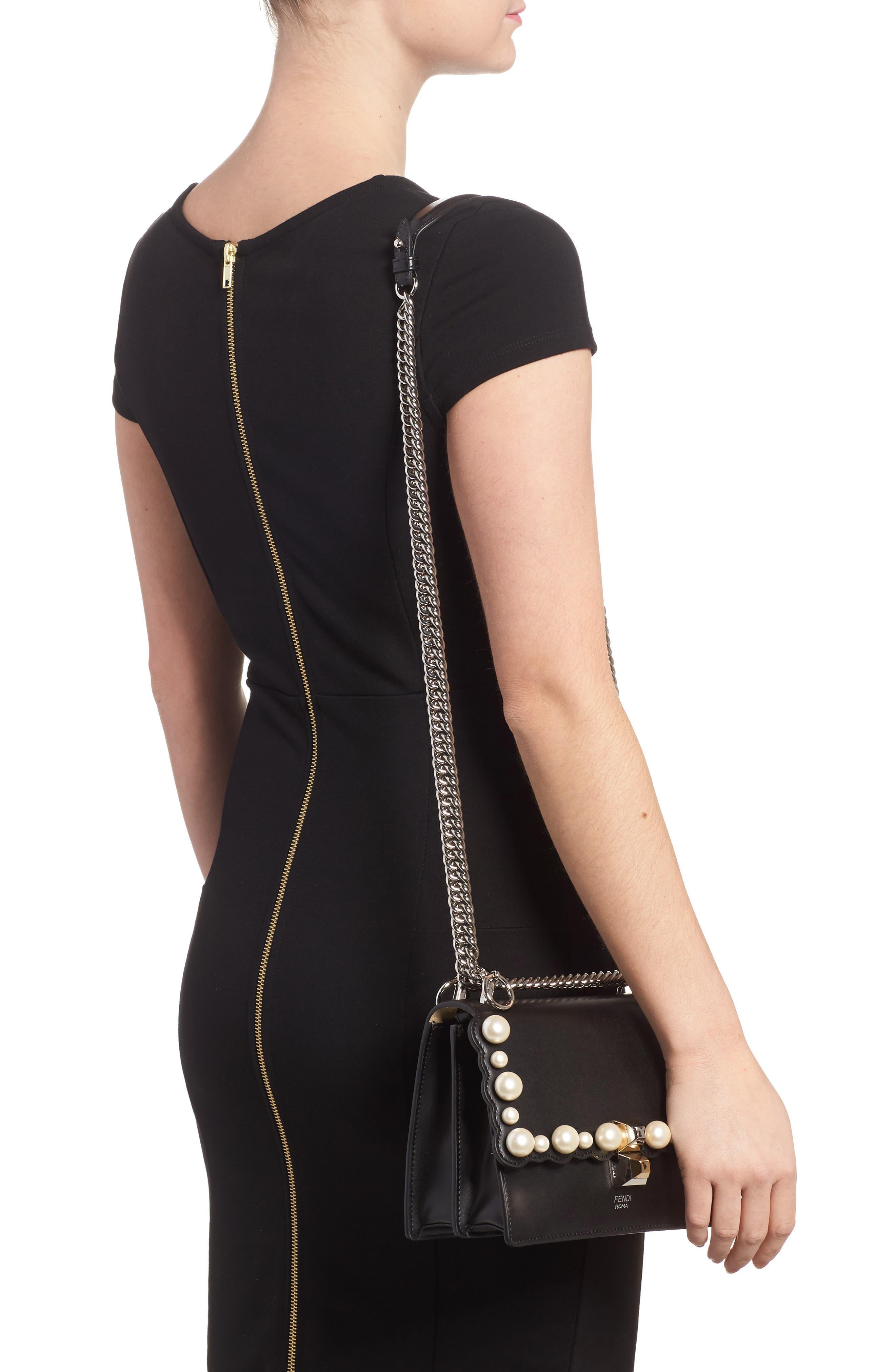 Small Kan I Imitation Pearl Stud Calfskin Shoulder Bag,                             Alternate thumbnail 2, color,                             BLACK