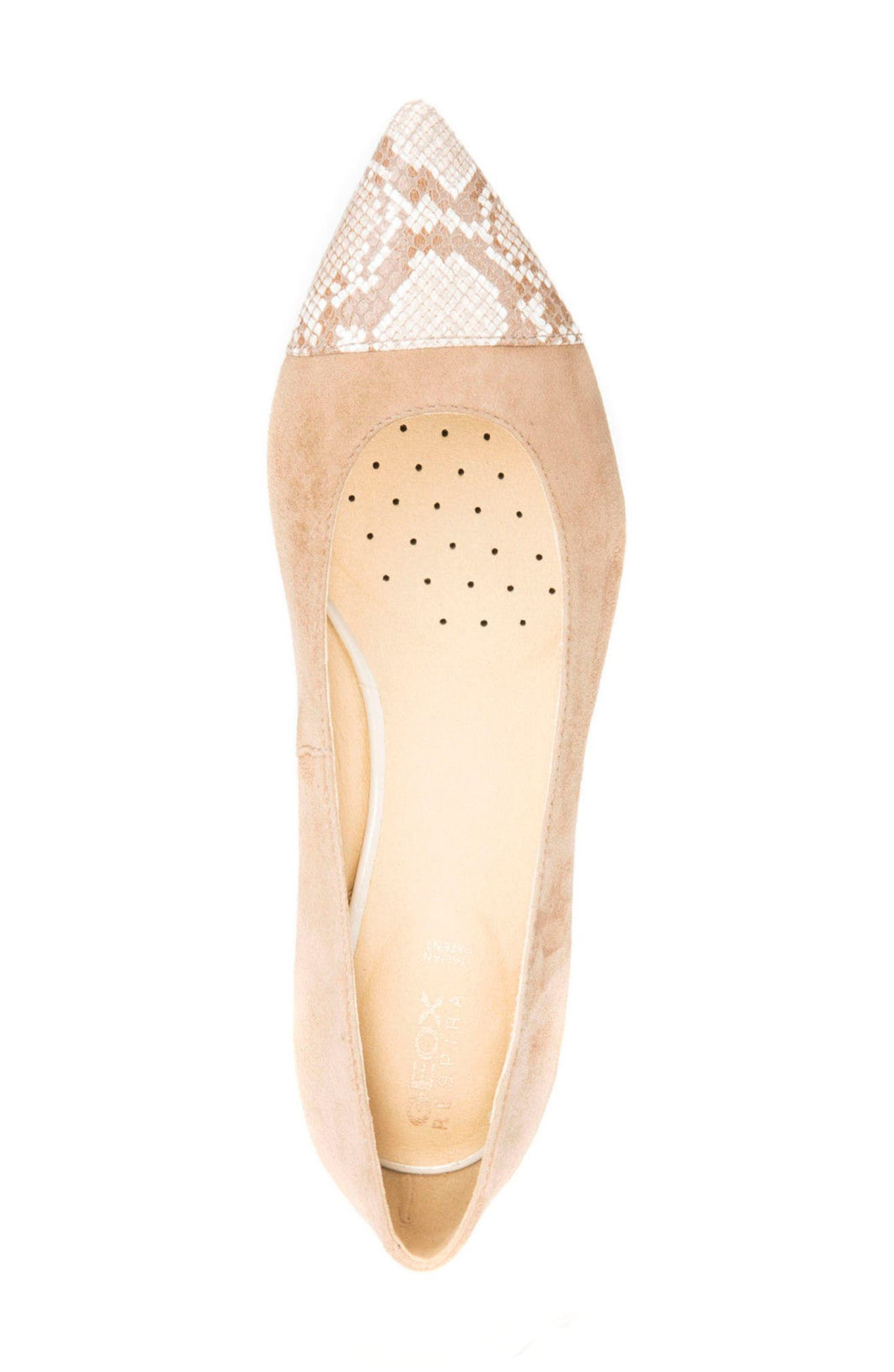 Charyssa Flat,                             Alternate thumbnail 4, color,                             BEIGE LEATHER