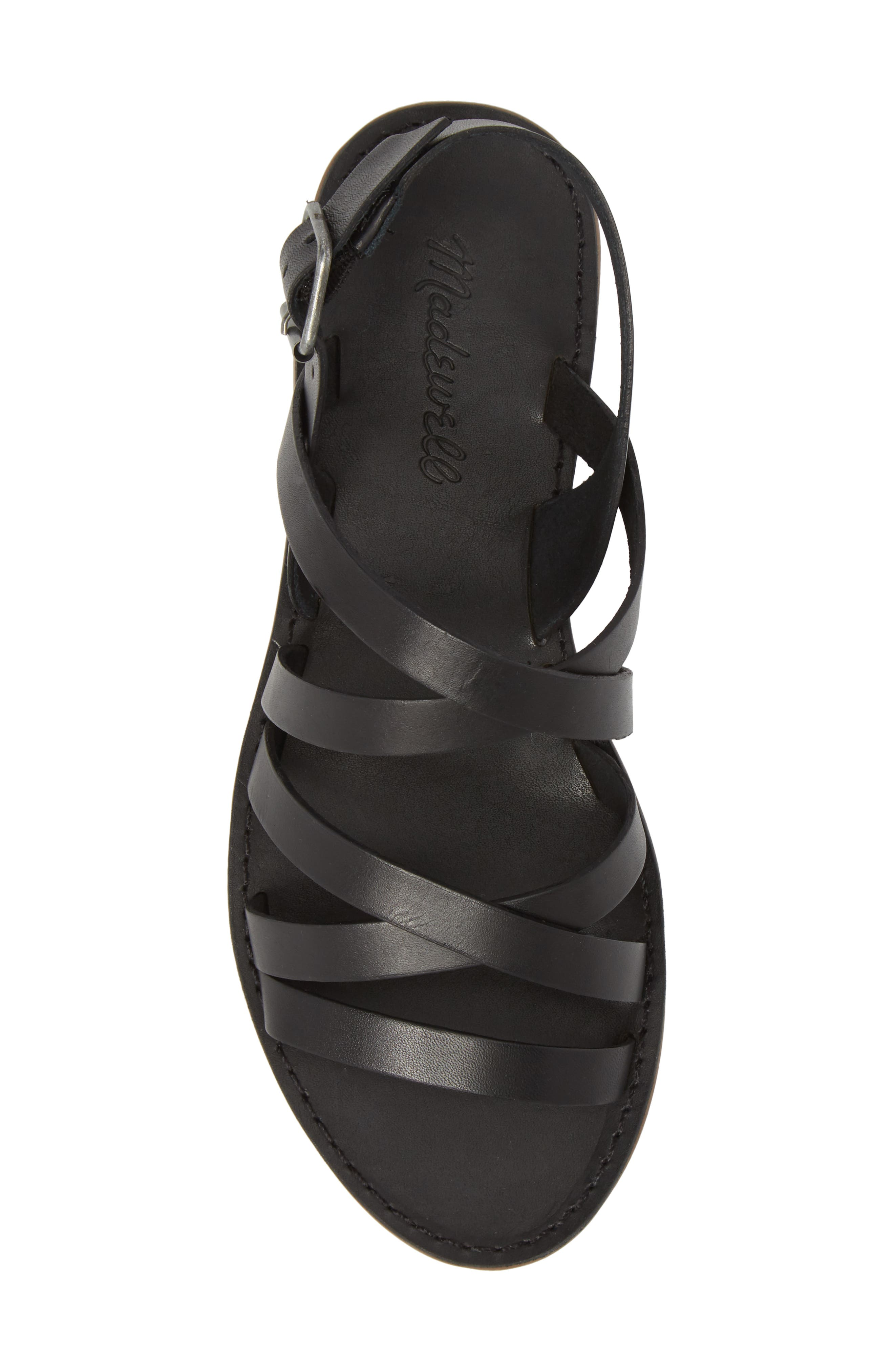 The Boardwalk Multistrap Sandal,                             Alternate thumbnail 5, color,                             TRUE BLACK LEATHER