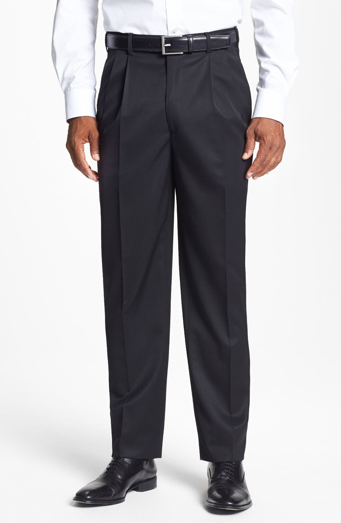 Pleated Super 100s Worsted Wool Trousers,                             Main thumbnail 6, color,