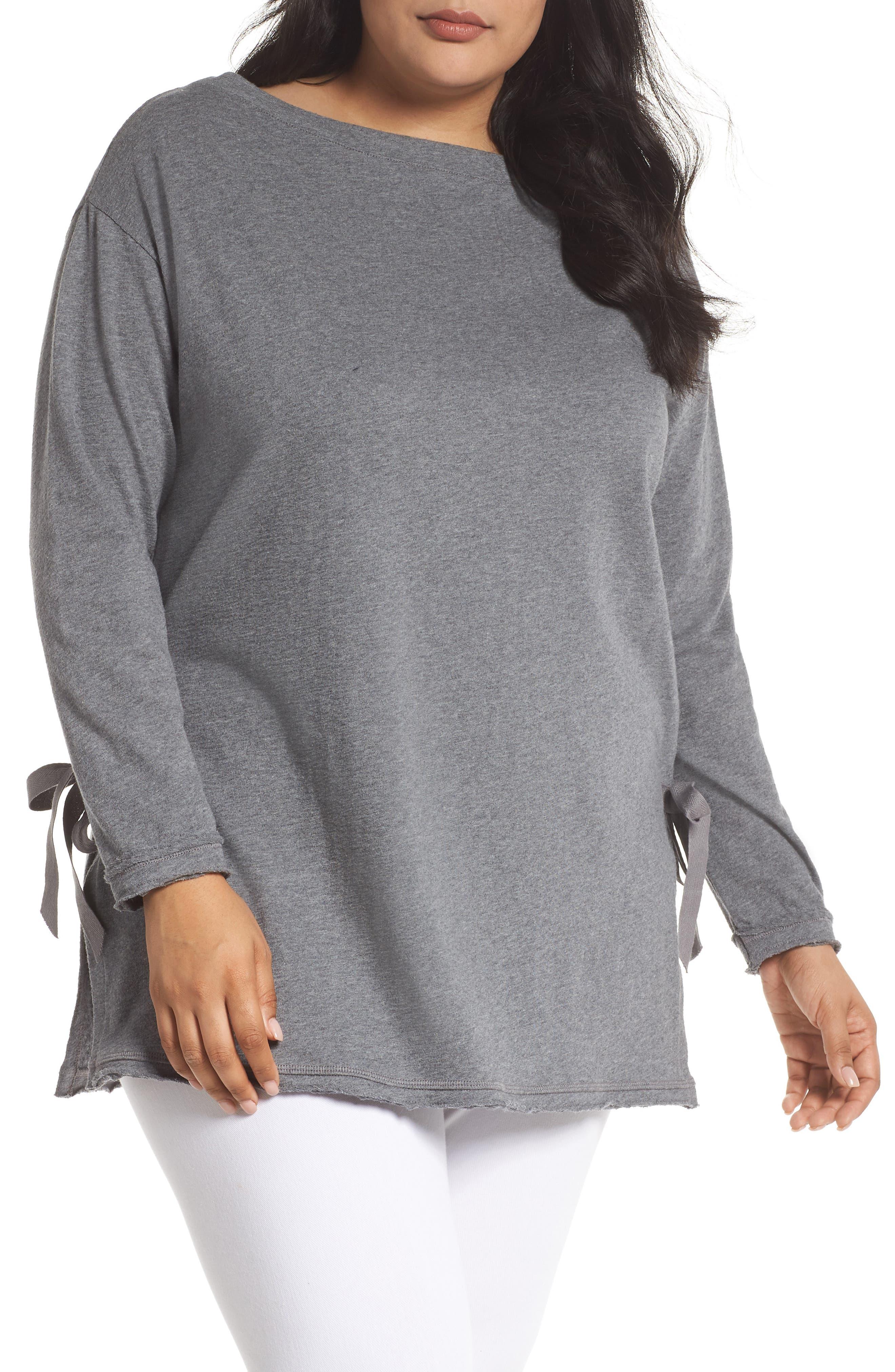 Side Tie Cotton Tunic Top,                             Main thumbnail 1, color,                             030