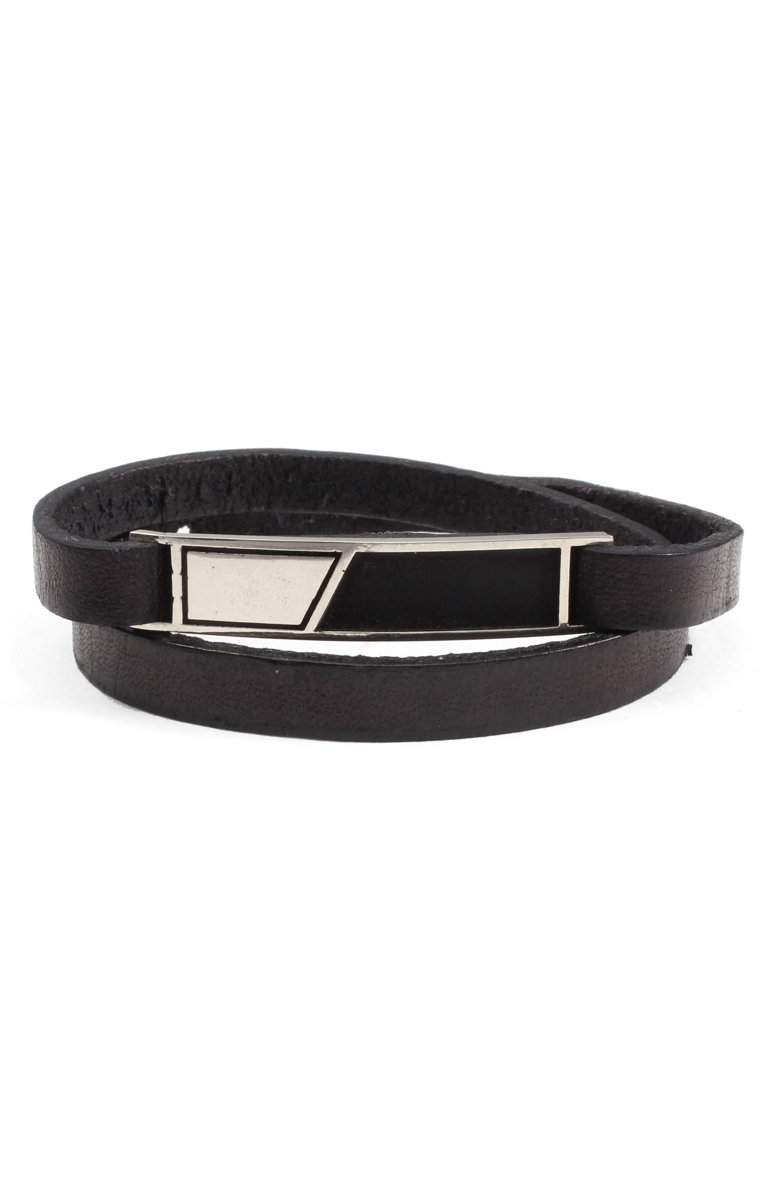 Dystopia ID Leather Wrap Bracelet,                             Main thumbnail 1, color,                             001