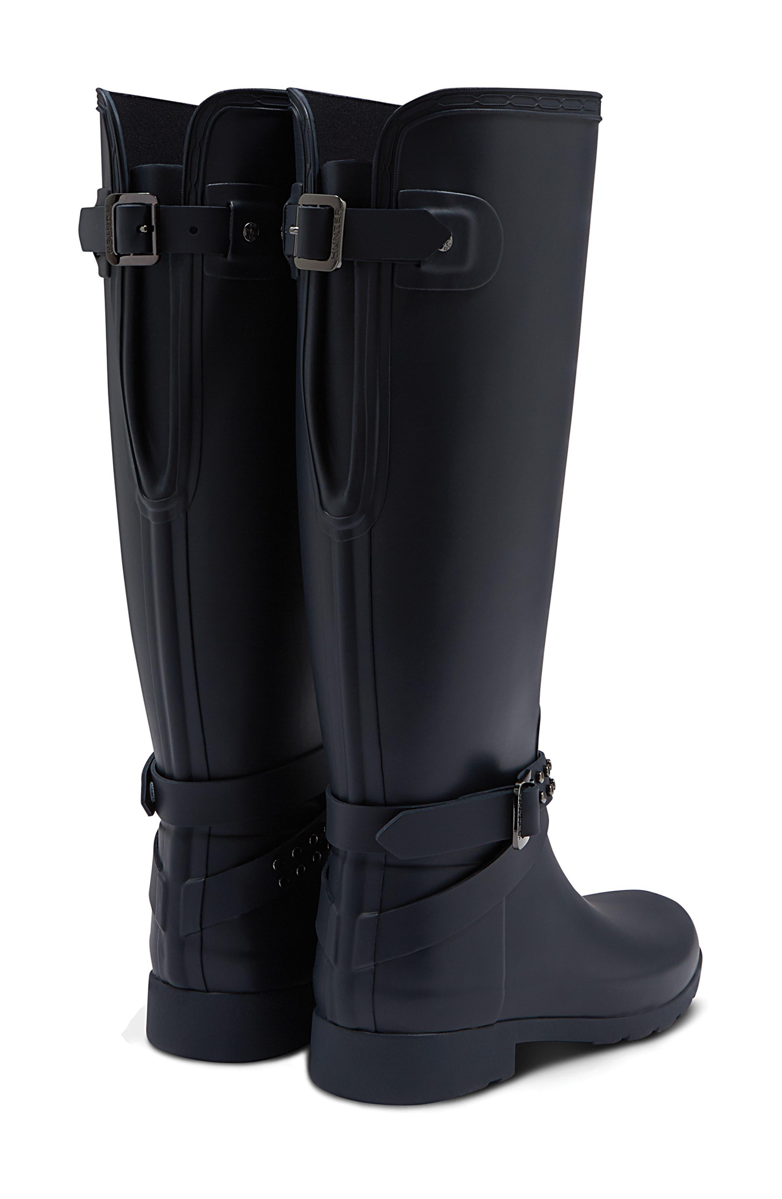 Refined Adjustable Back Knee High Waterproof Rain Boot,                             Alternate thumbnail 2, color,                             NAVY