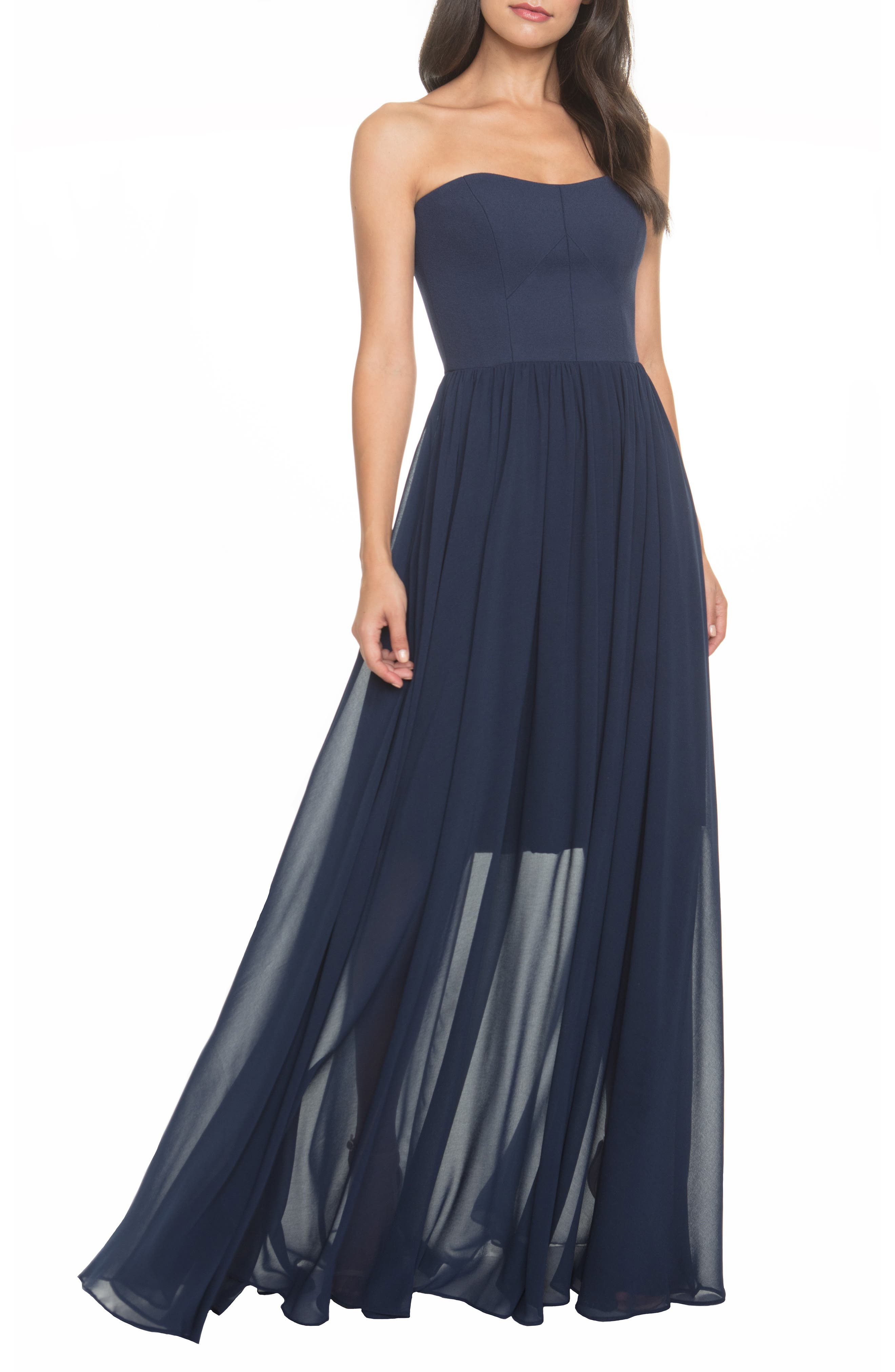 Dress The Population Ella Strapless Crepe Chiffon Gown, Blue