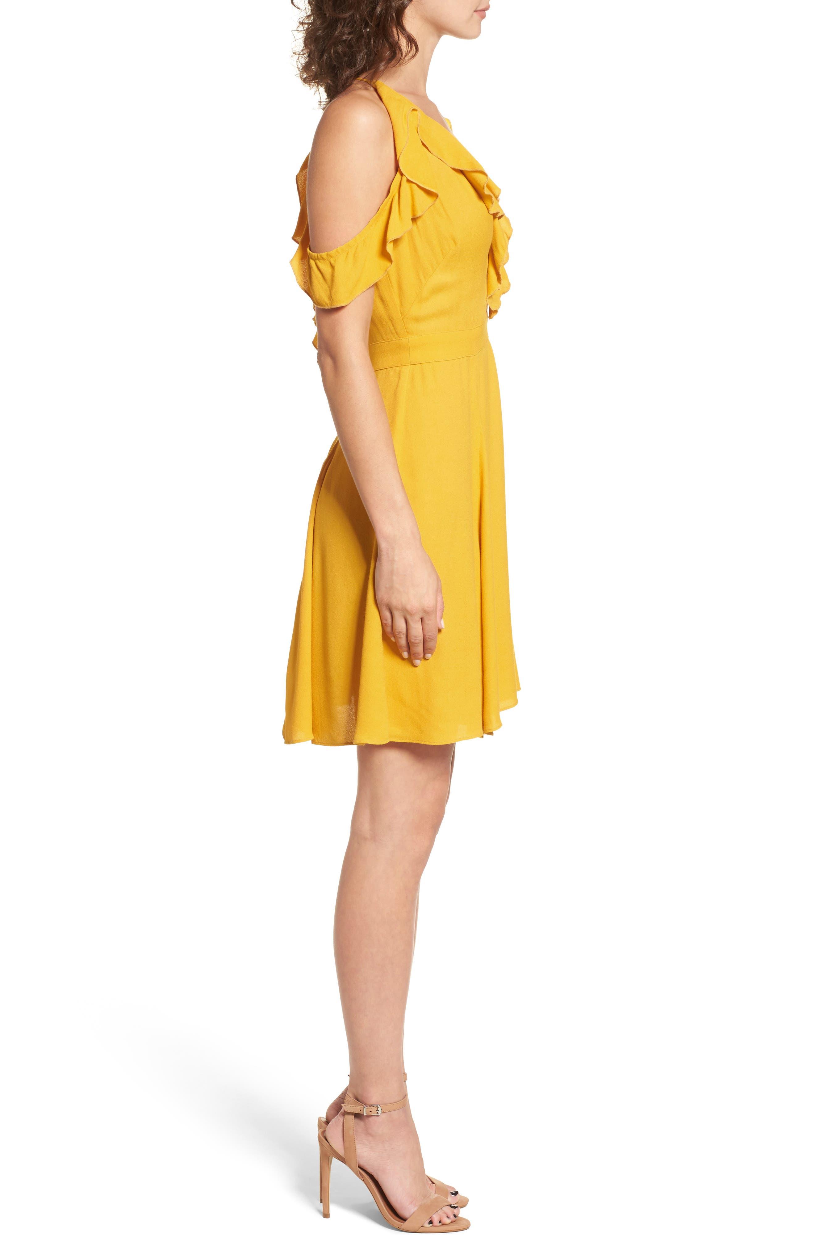 Enzo Cold Shoulder Fit & Flare Dress,                             Alternate thumbnail 3, color,