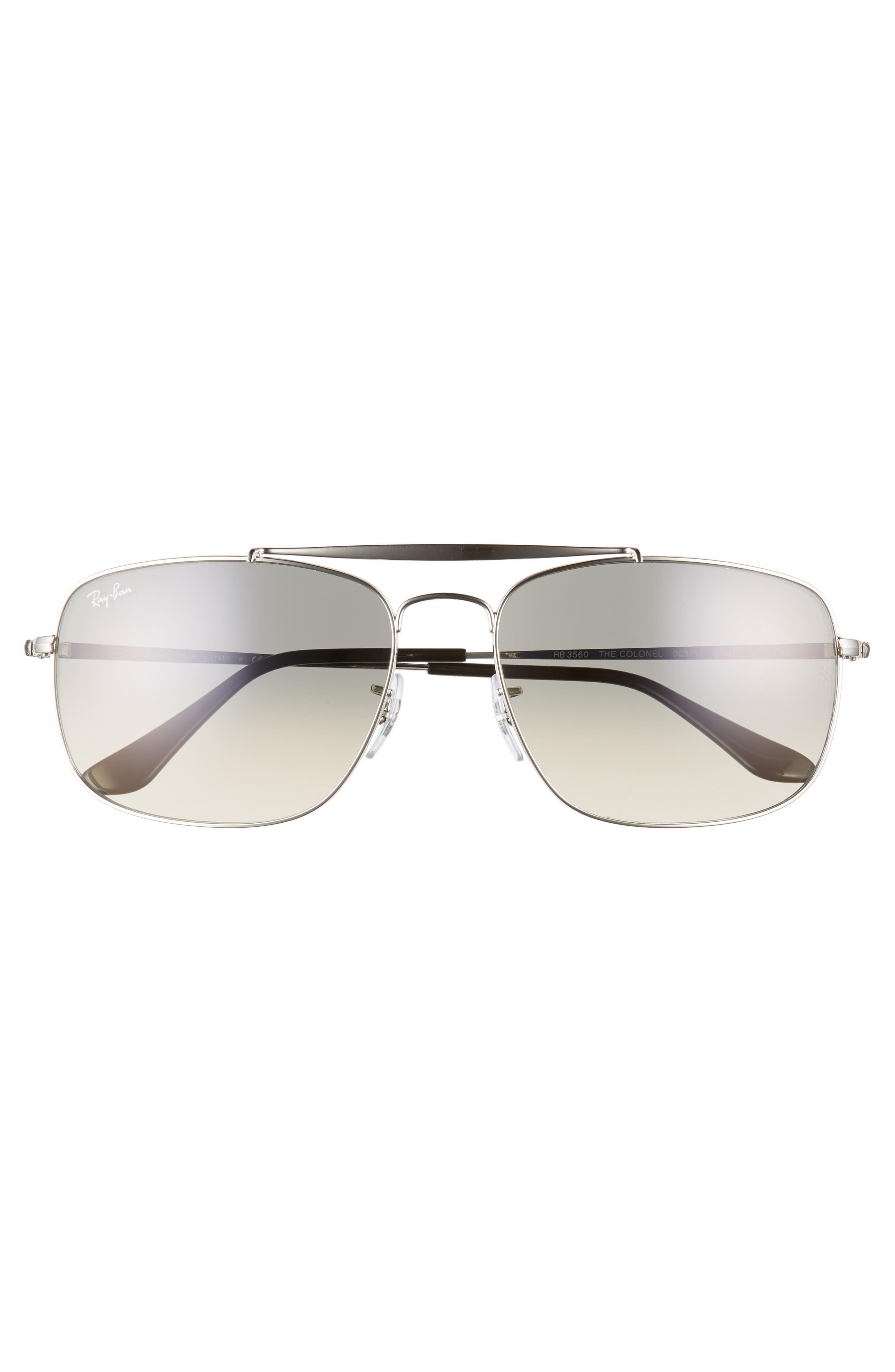 The Colonel 61mm Aviator Sunglasses,                             Alternate thumbnail 2, color,                             SILVER