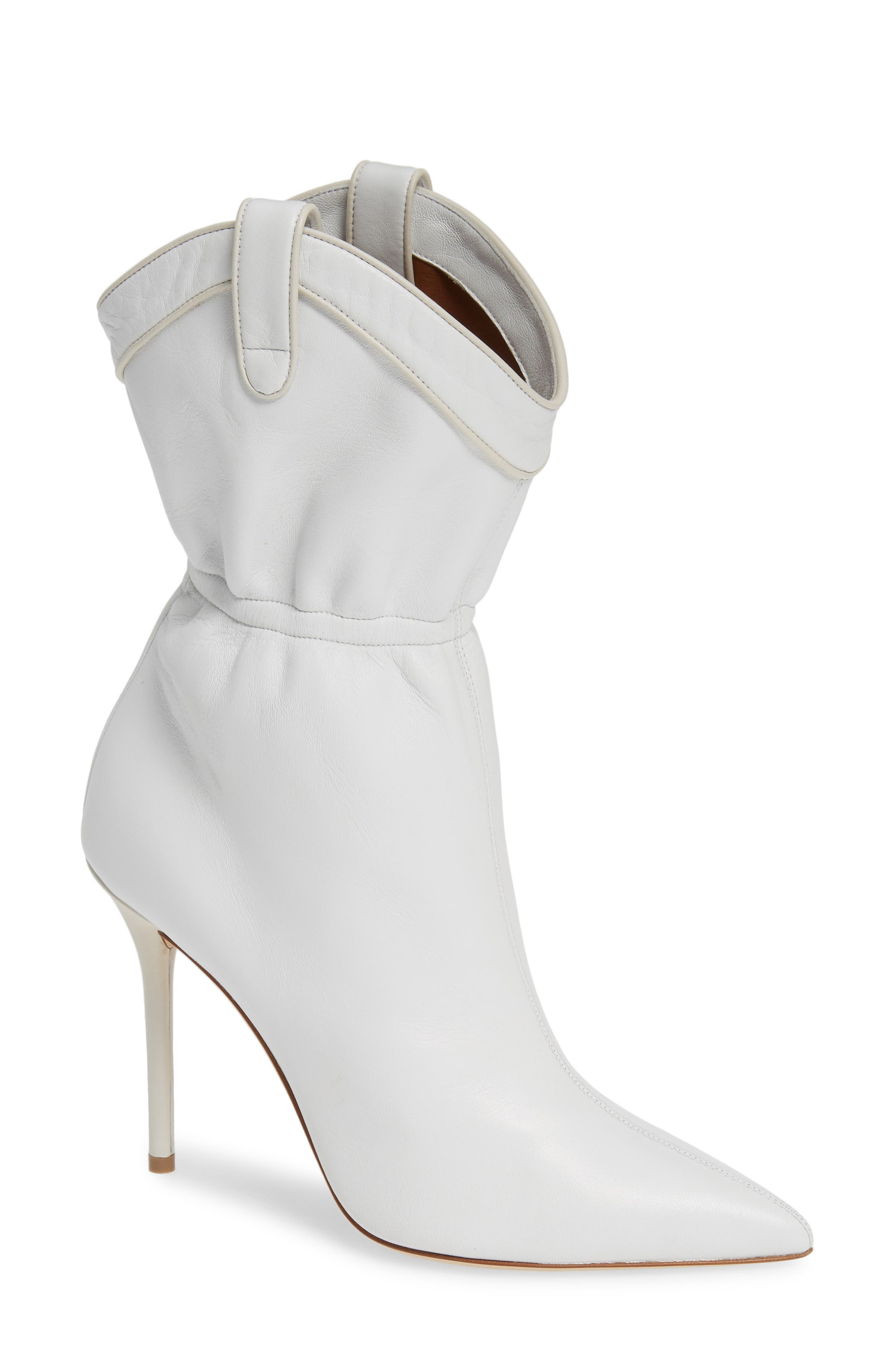 MALONE SOULIERS Daisy Cinched Bootie, Main, color, WHITE LEATHER