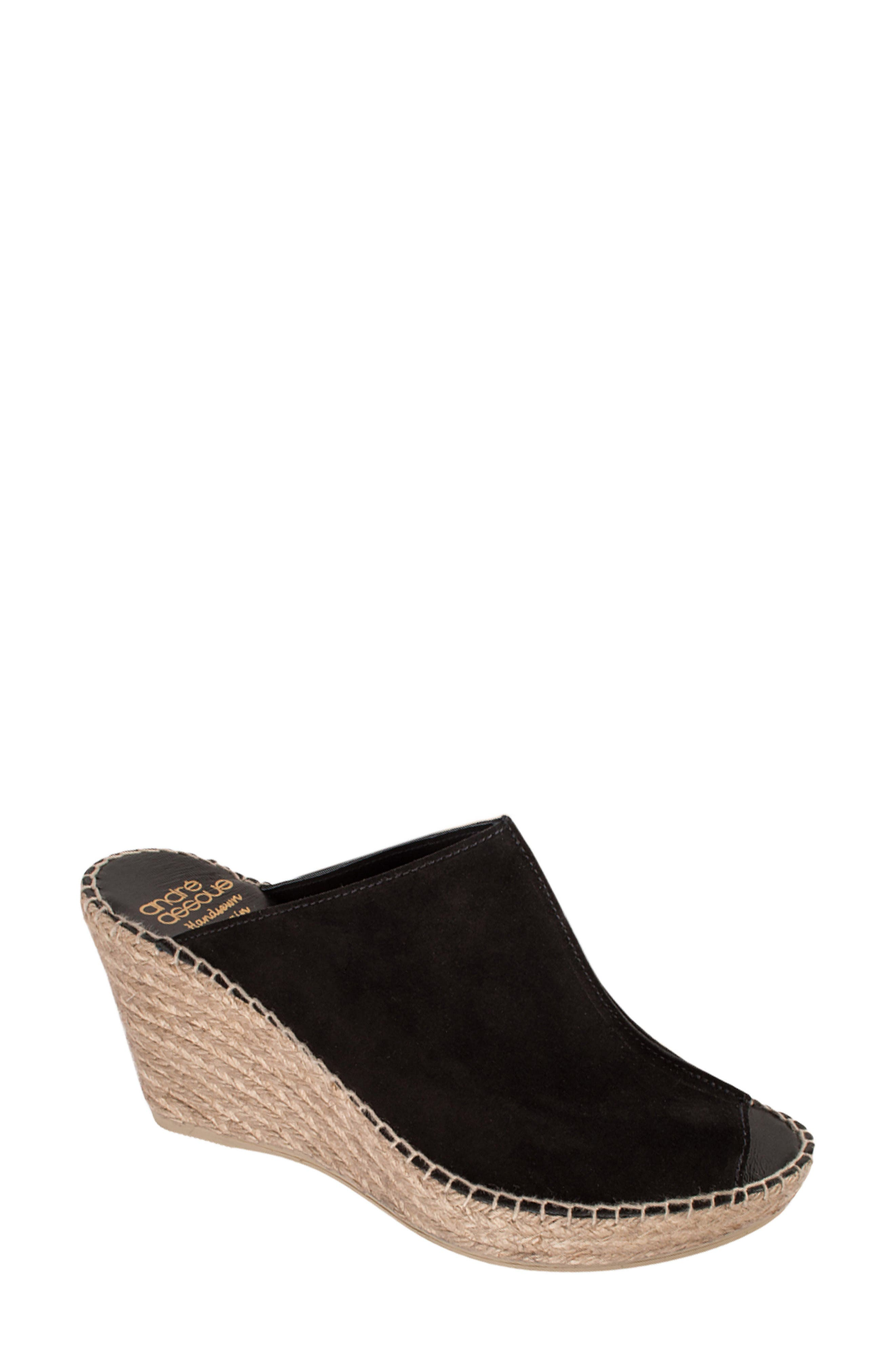 ANDRE ASSOUS Women'S Cici Leather Espadrille Wedge Slide Sandals in Black Suede