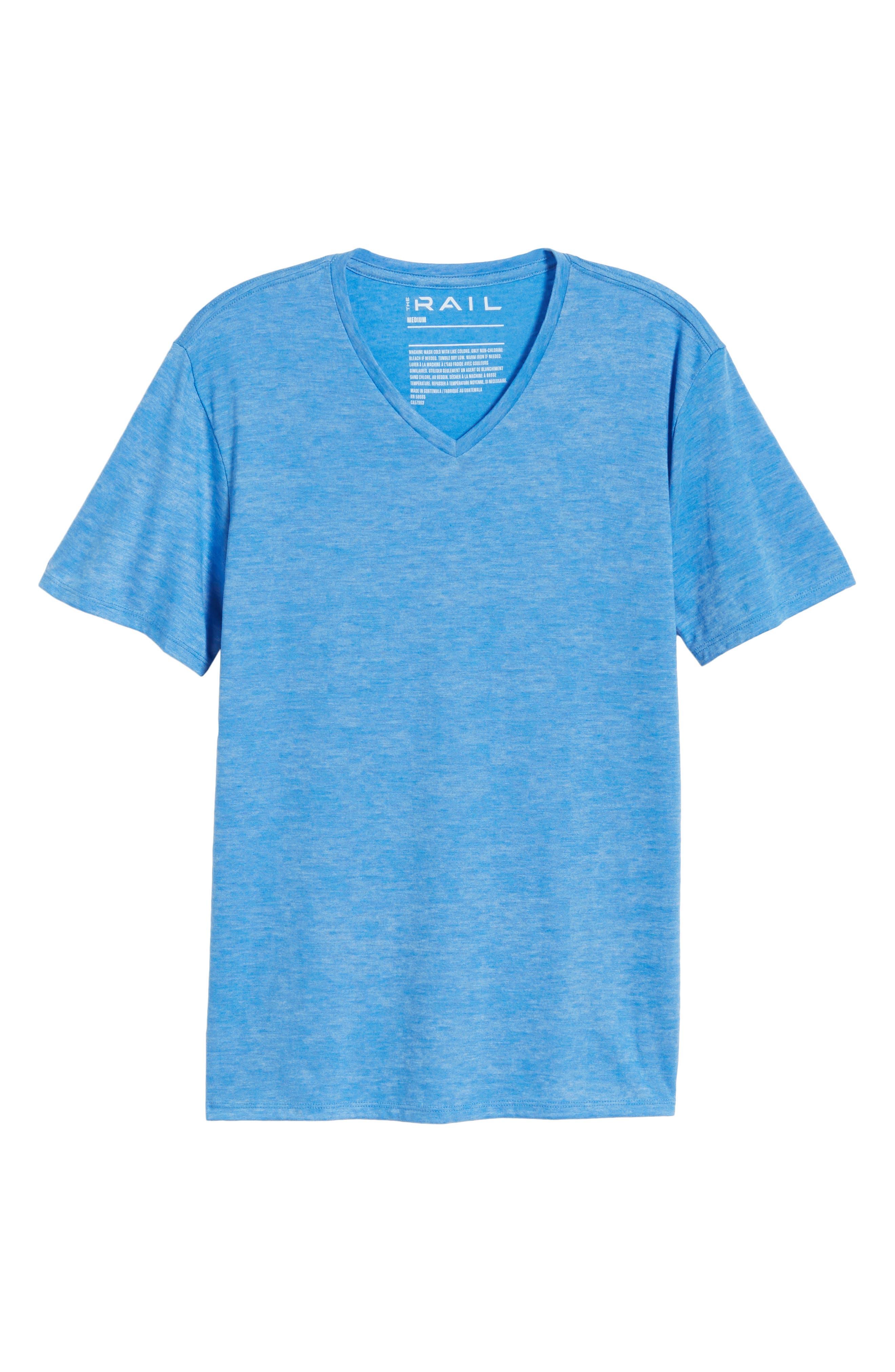 Burnout V-Neck T-Shirt,                             Alternate thumbnail 6, color,                             BLUE BLISS- WHITE BURNOUT
