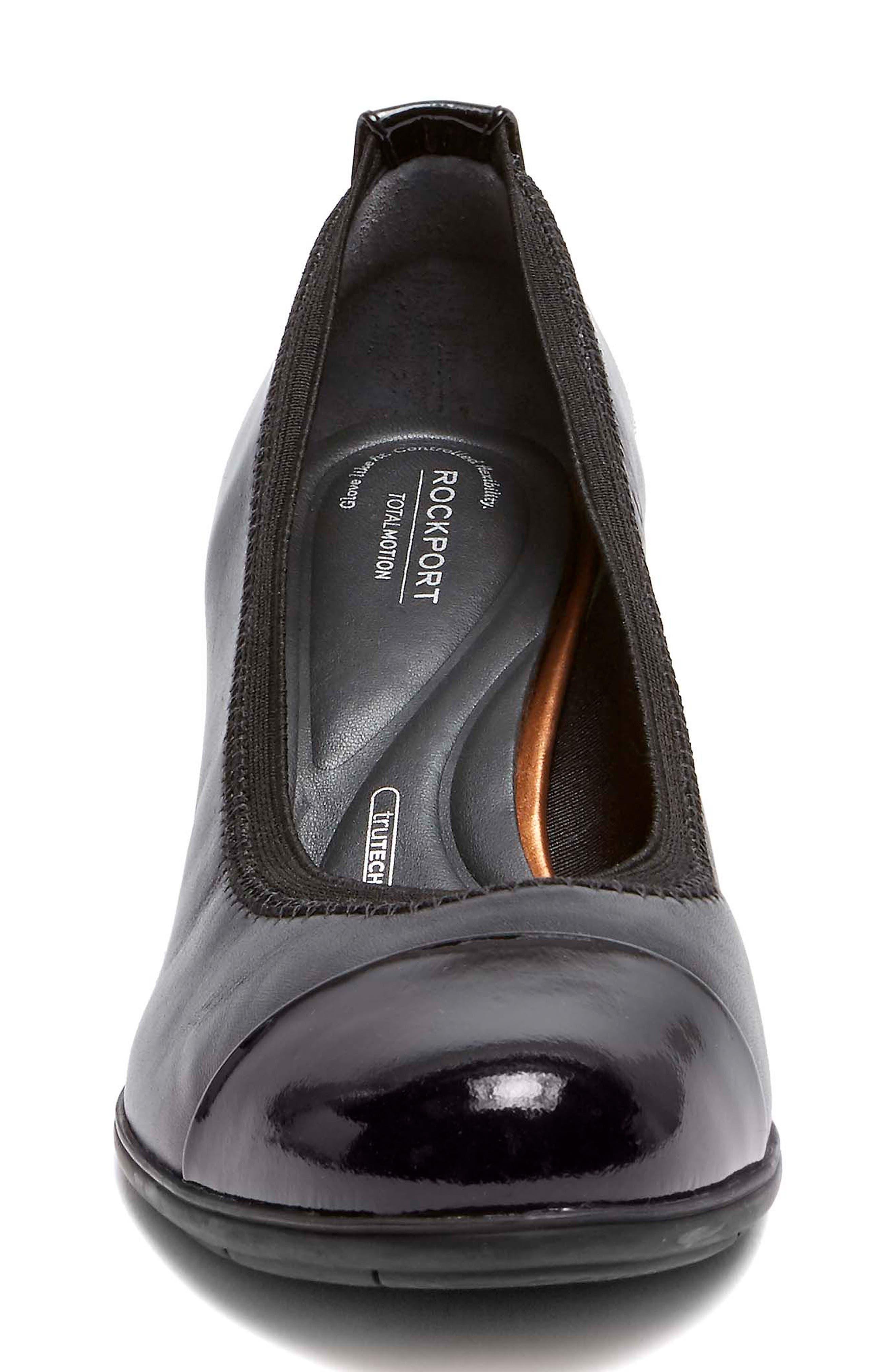 Esty Luxe Cap Toe Pump,                             Alternate thumbnail 4, color,                             BLACK LEATHER