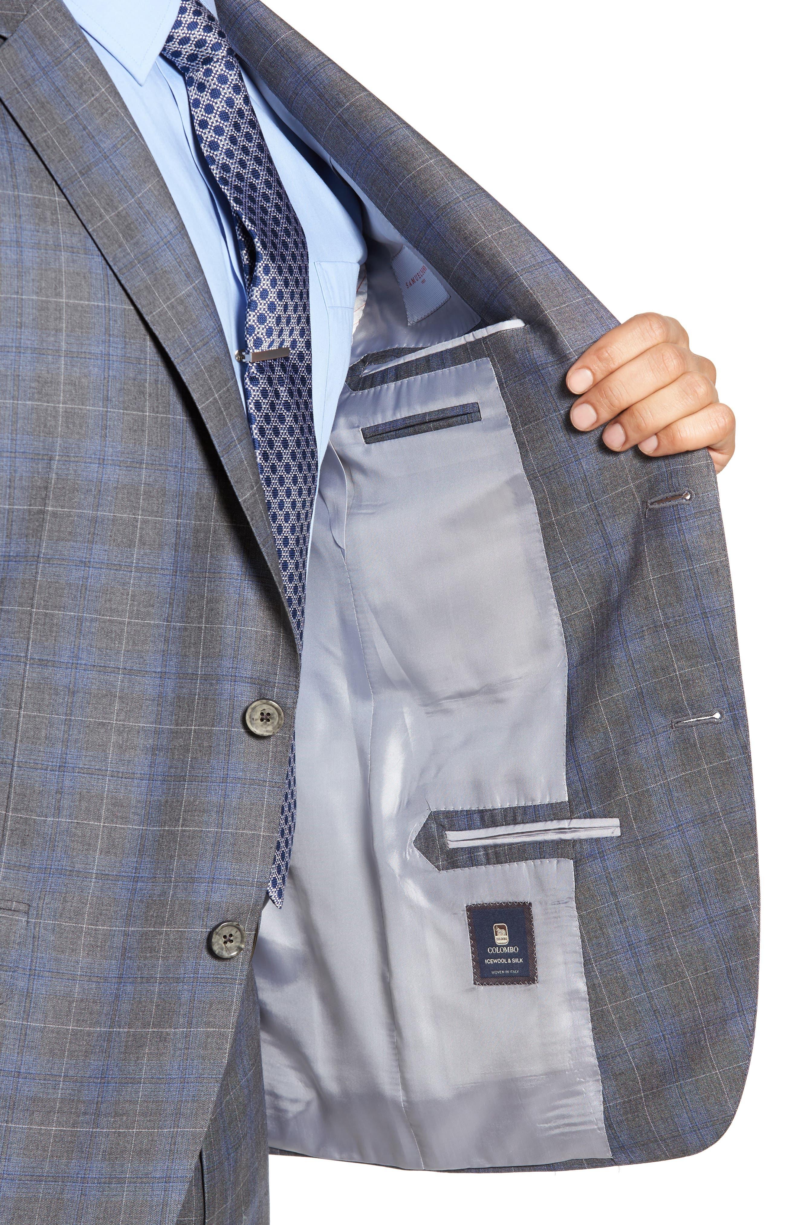 Classic Fit Plaid Wool & Silk Suit,                             Alternate thumbnail 4, color,