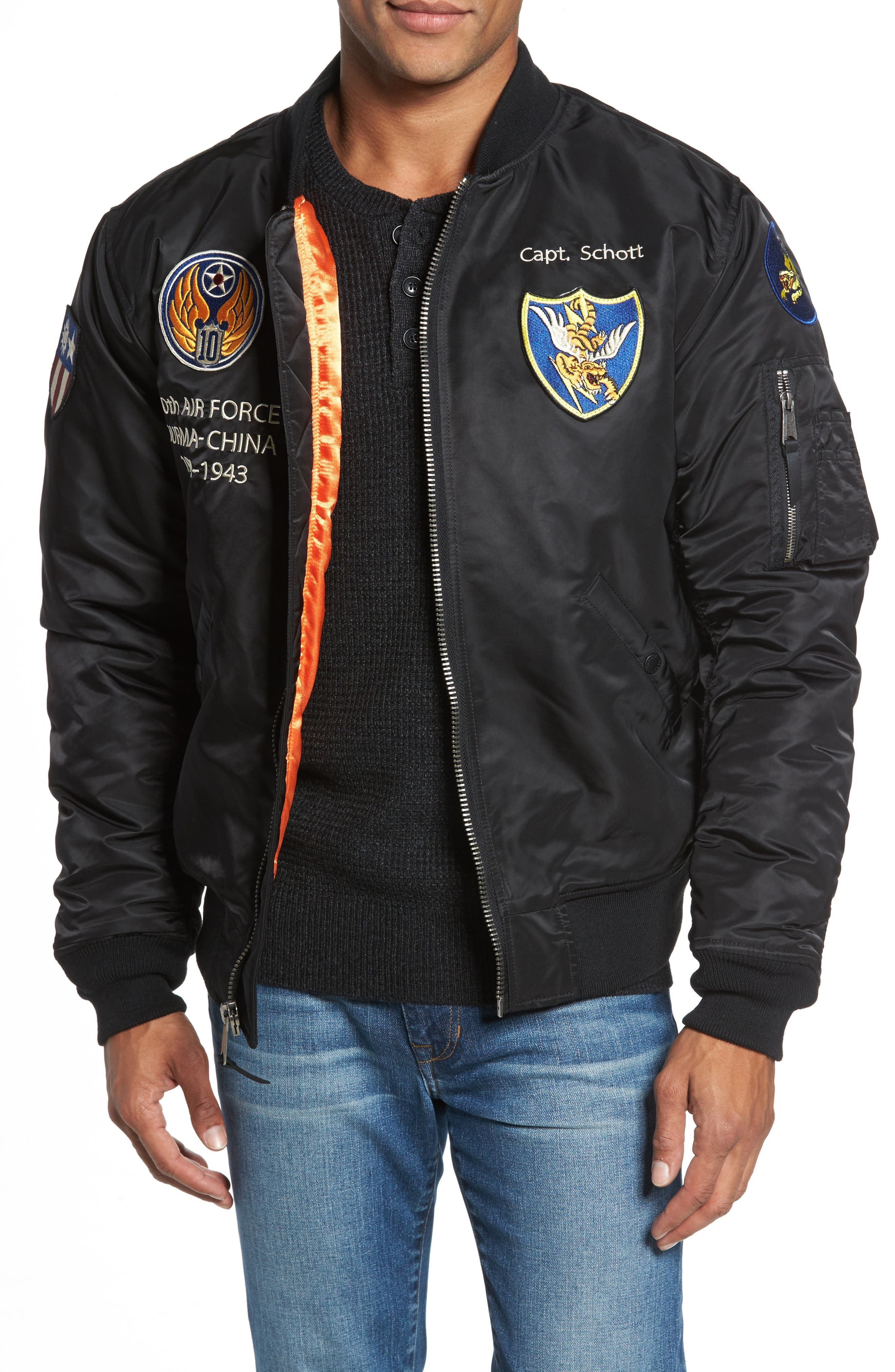Highly Decorated Embroidered Flight Jacket,                         Main,                         color,