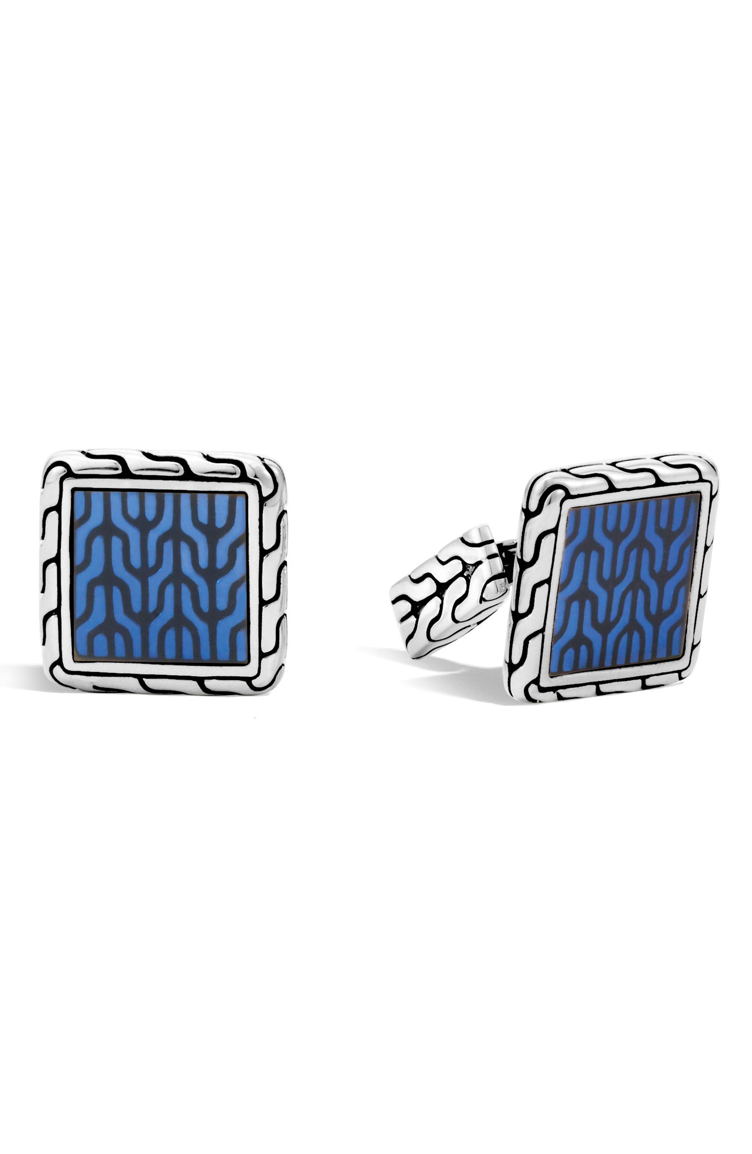 JOHN HARDY Classic Chain Silver Enamel Square Cuff Links, Main, color, SILVER/ BLUE
