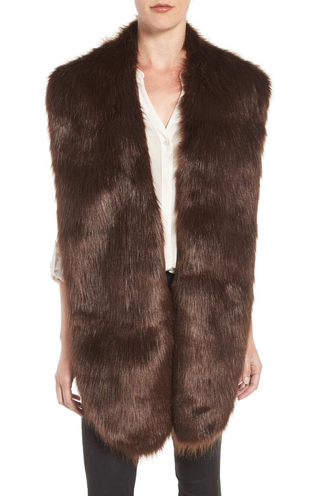 Faux Mink Stole,                             Main thumbnail 3, color,