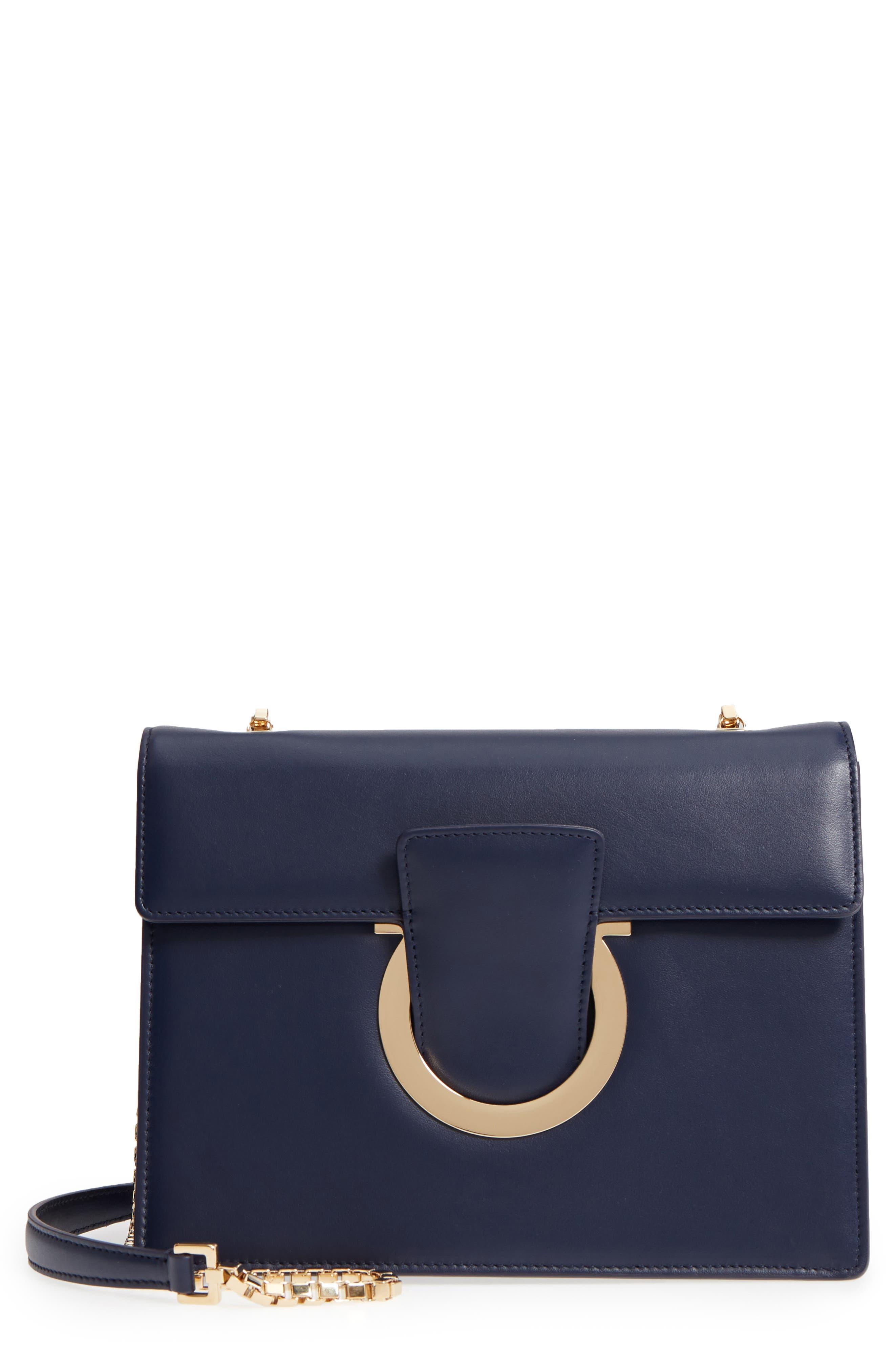 Thalia Gancio Leather Shoulder Bag,                         Main,                         color, MIRTO
