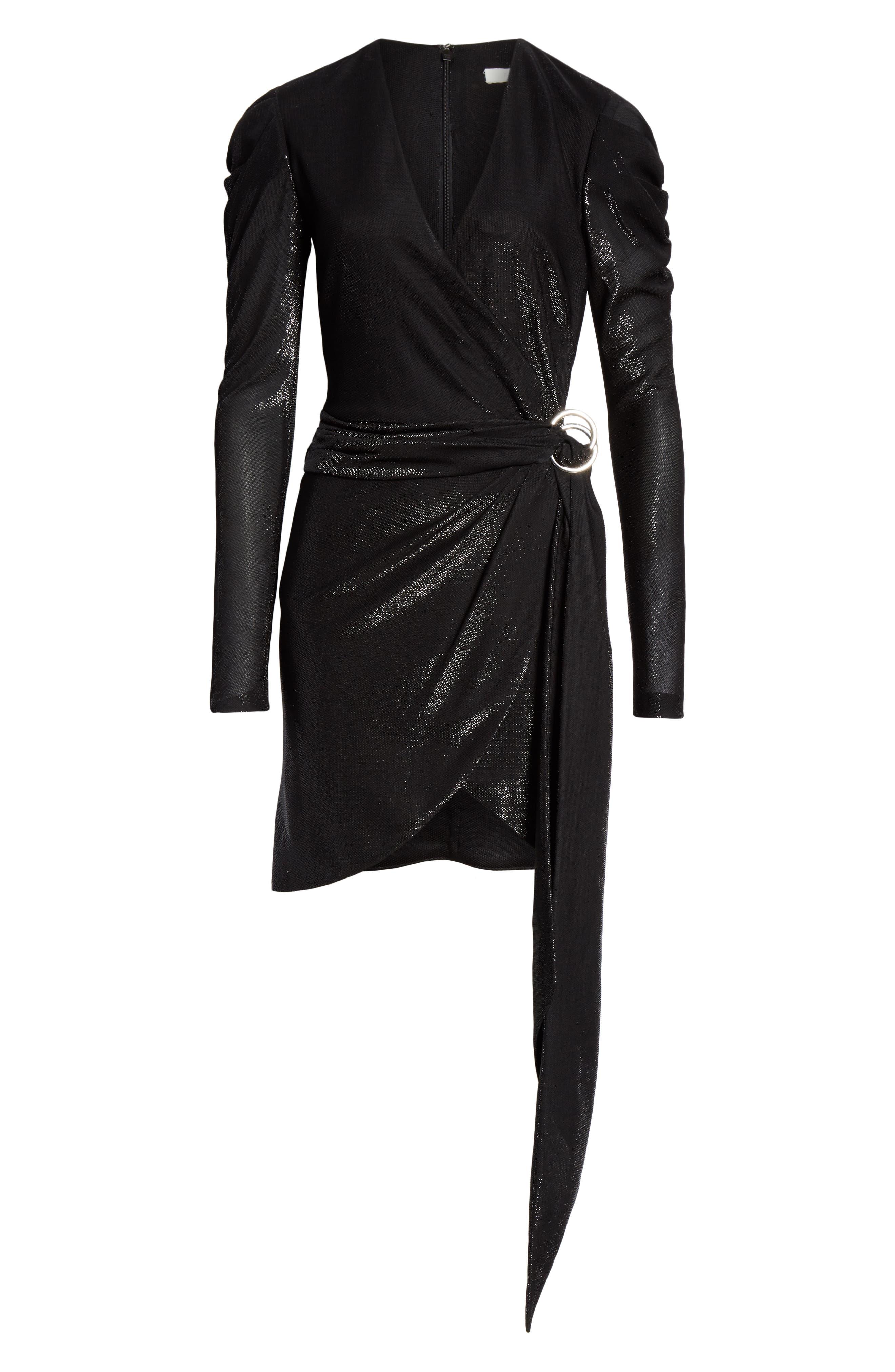 JONATHAN SIMKHAI,                             Metallic Knit Dress,                             Alternate thumbnail 6, color,                             BLACK