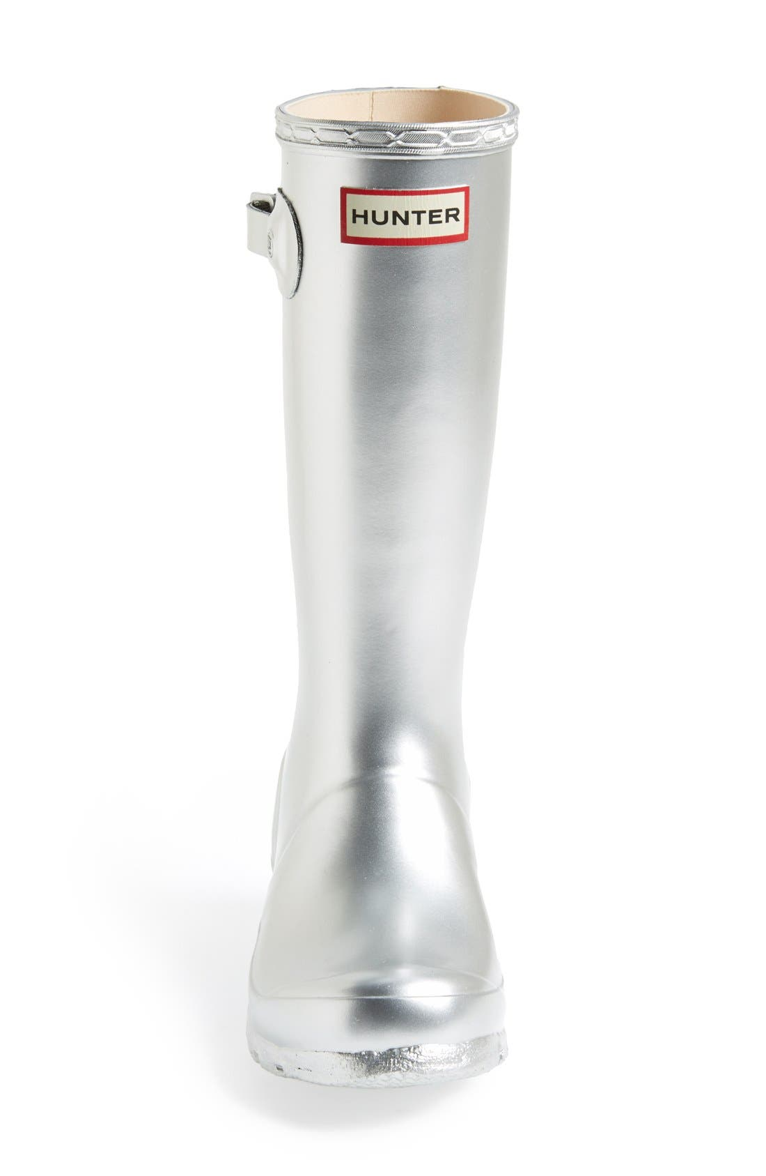 HUNTER,                             Original Waterproof Rain Boot,                             Alternate thumbnail 3, color,                             SILVER