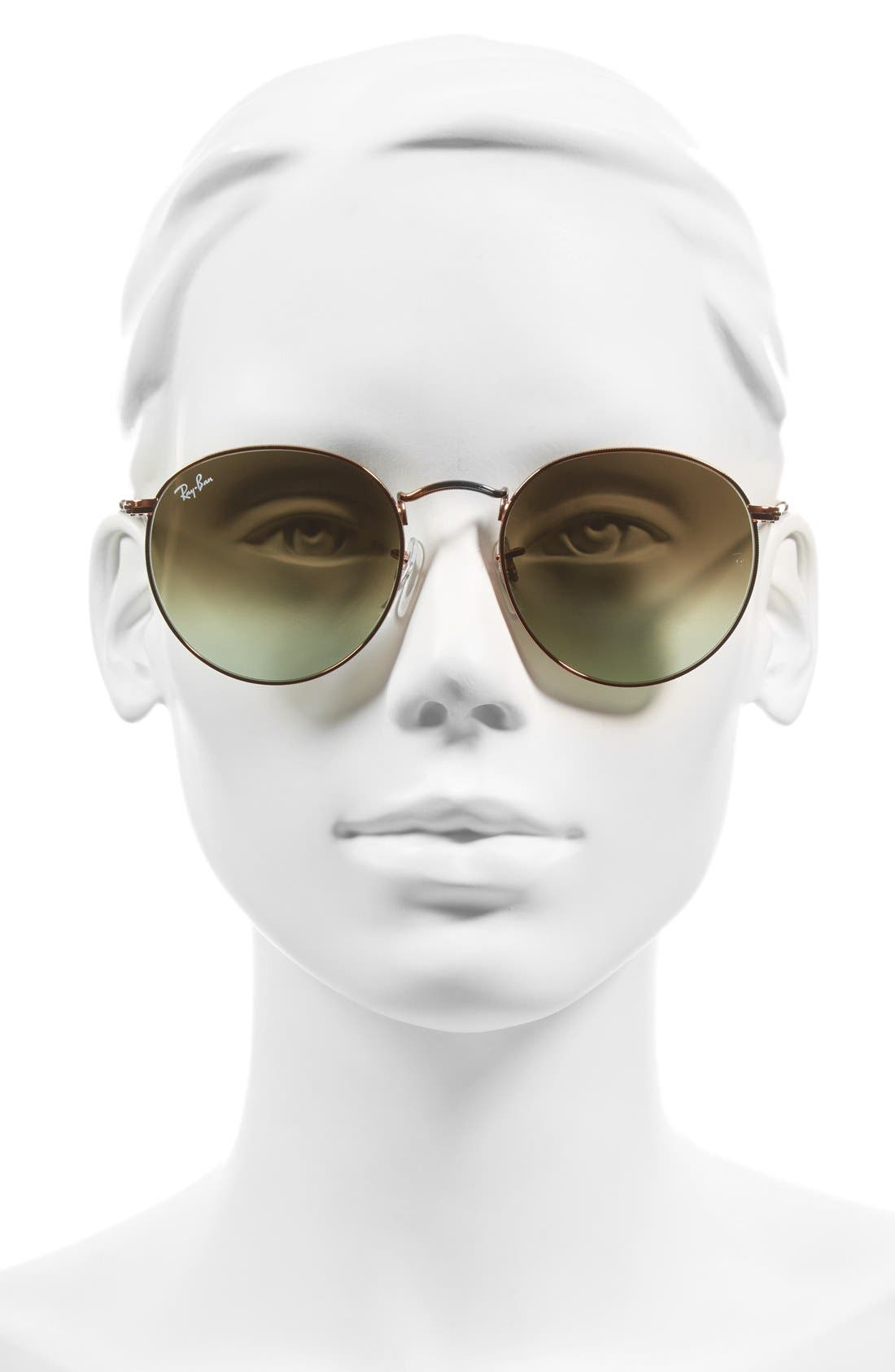 Icons 53mm Retro Sunglasses,                             Alternate thumbnail 2, color,                             GREEN/ BROWN