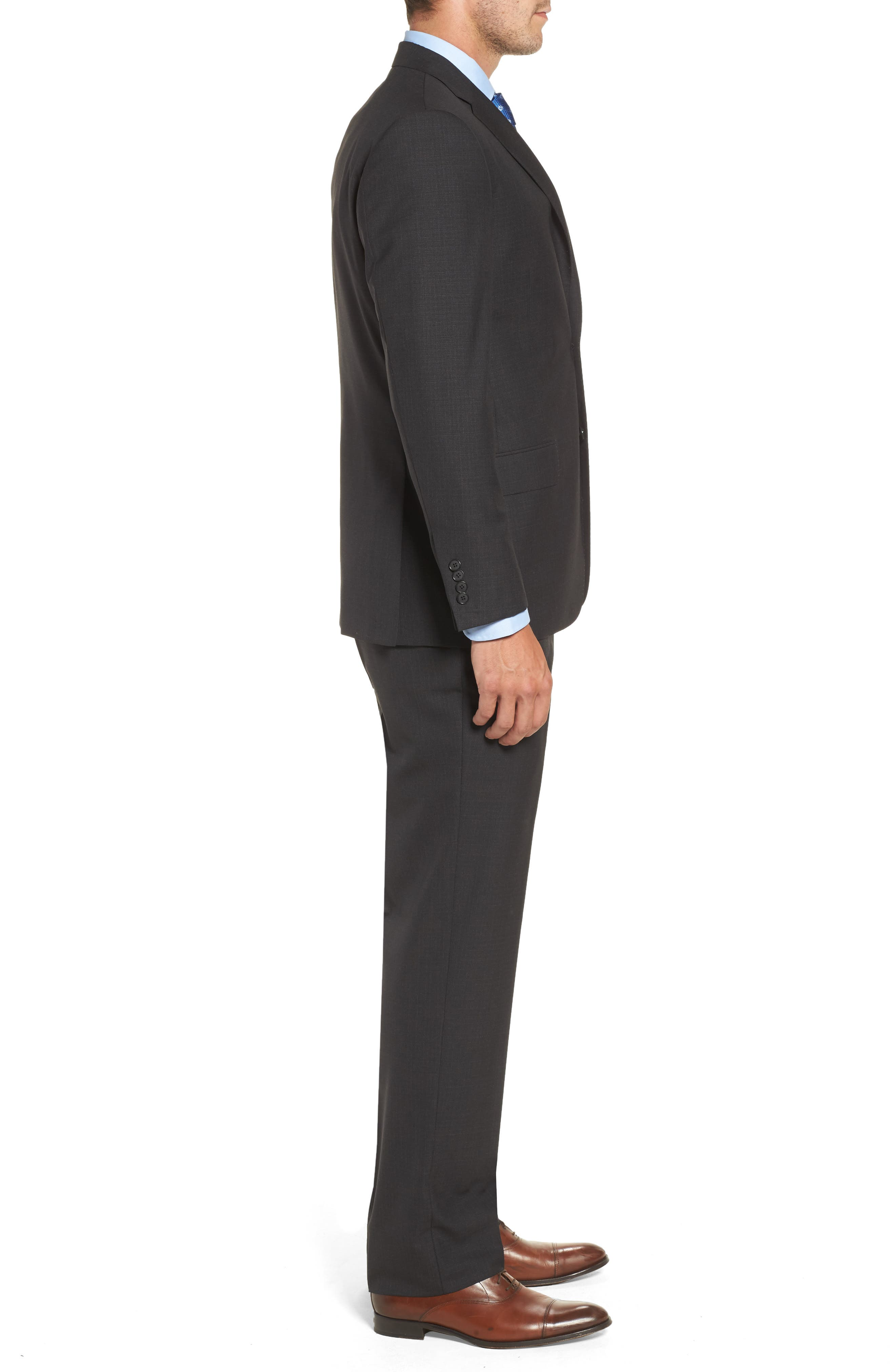 Classic B Fit Check Wool Suit,                             Alternate thumbnail 3, color,                             020