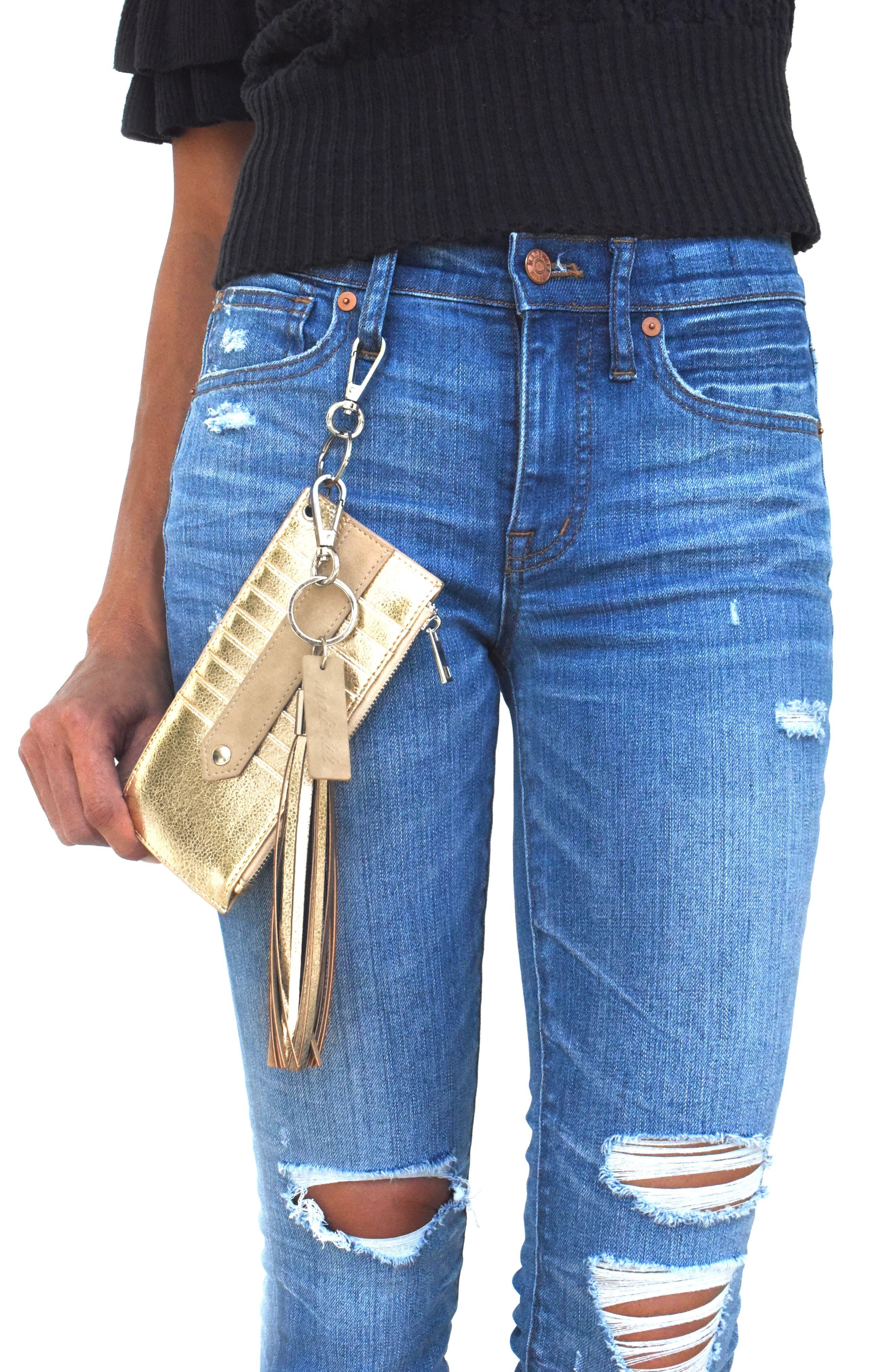 Mali + Lili Sydney Vegan Leather Card Case with Tassel Charm,                             Alternate thumbnail 9, color,