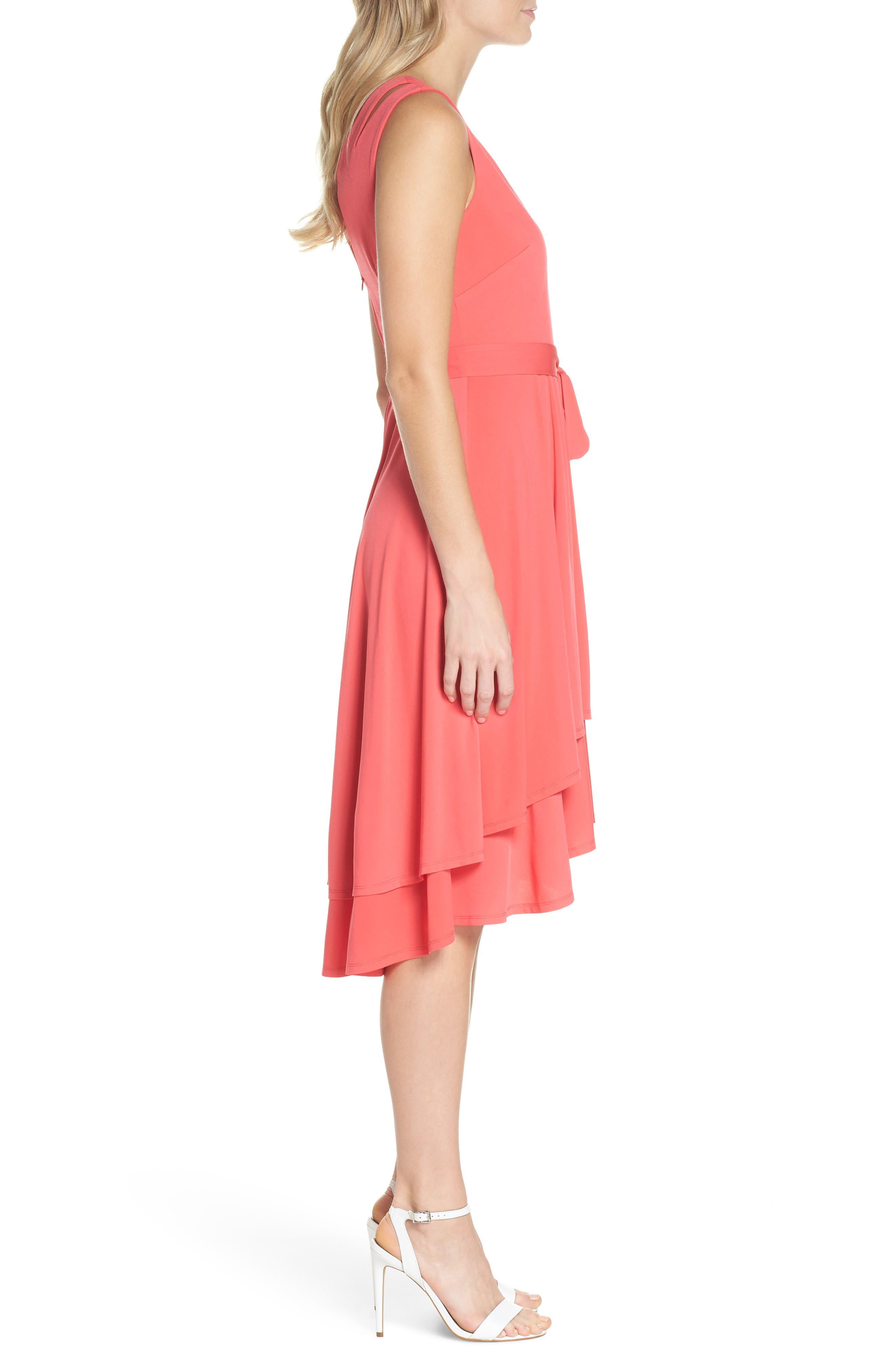 Split Shoulder High/Low Dress,                             Alternate thumbnail 3, color,                             660