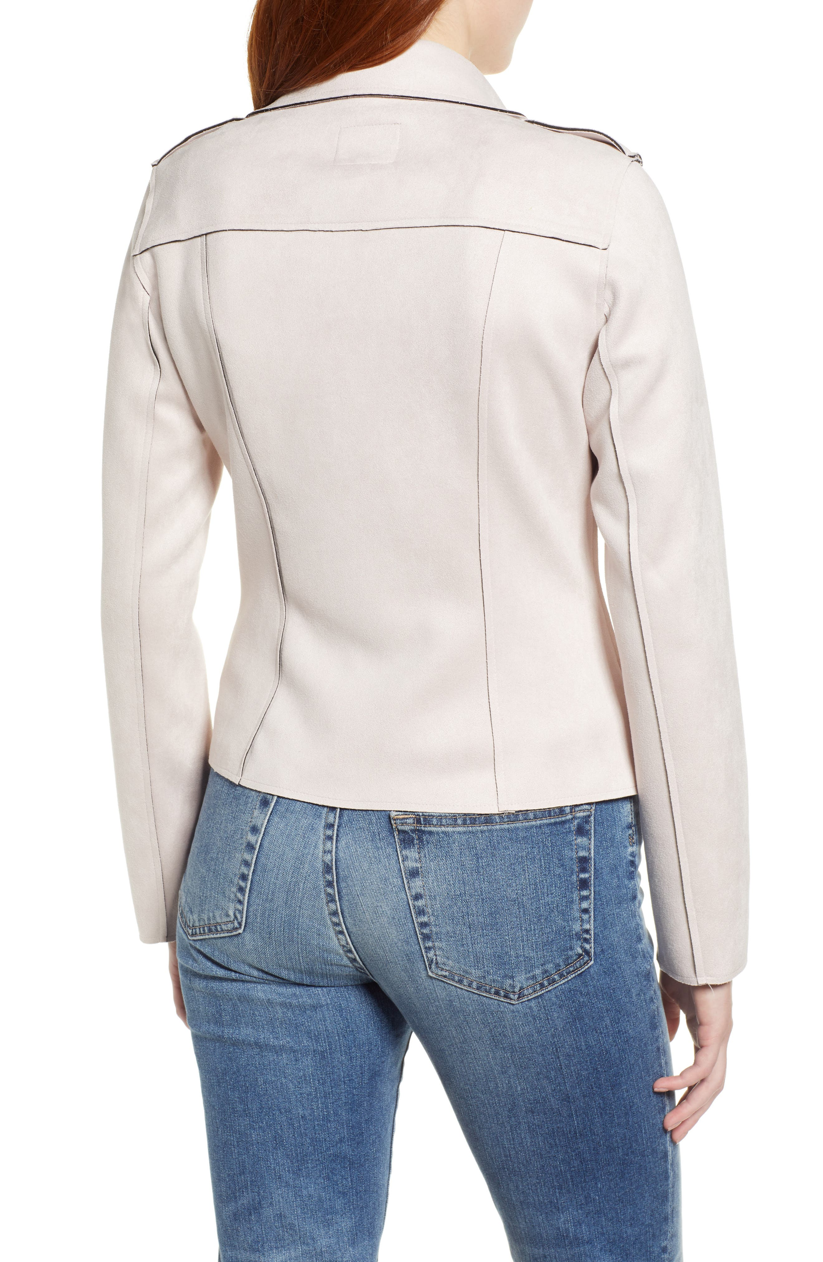 KUT FROM THE KLOTH,                             Haddie Faux Suede Moto Jacket,                             Alternate thumbnail 2, color,                             PALE BLUSH