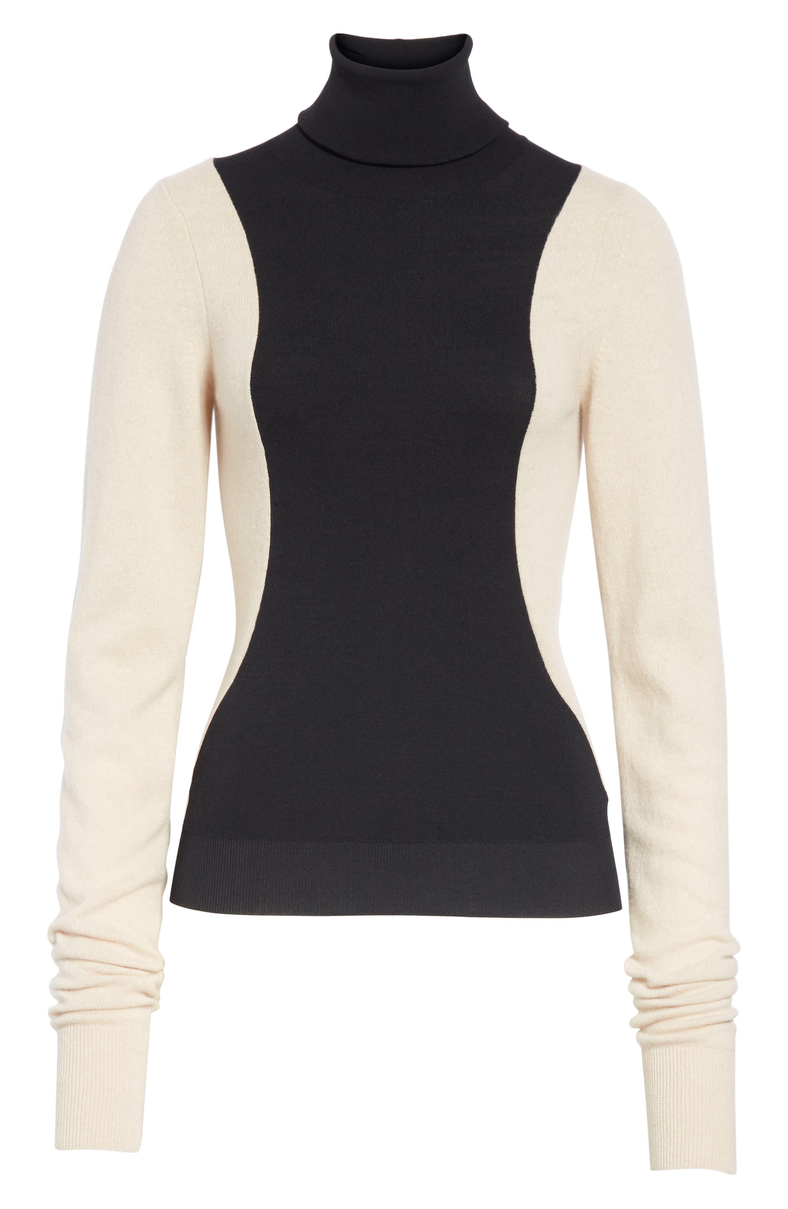 Colorblock Wool Blend Turtleneck Sweater,                             Alternate thumbnail 6, color,                             BLACK/ NUT
