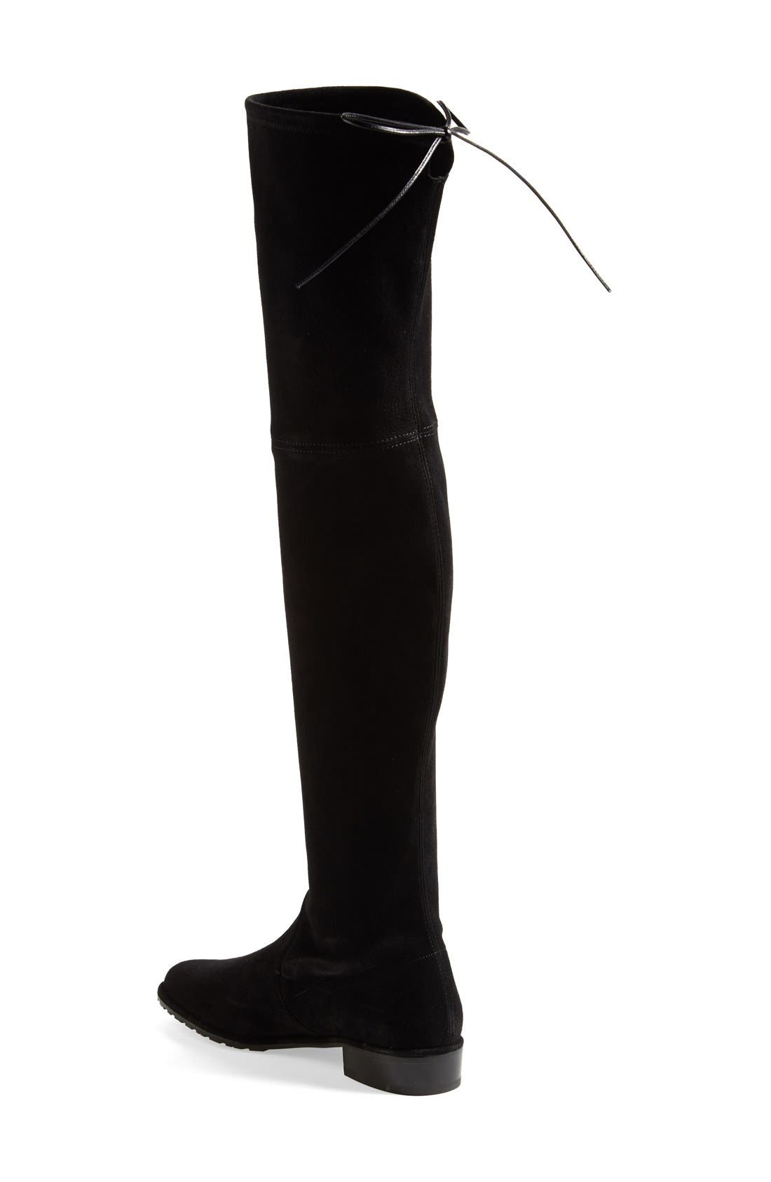'Lowland' Over the Knee Boot,                             Alternate thumbnail 4, color,                             BLACK SUEDE