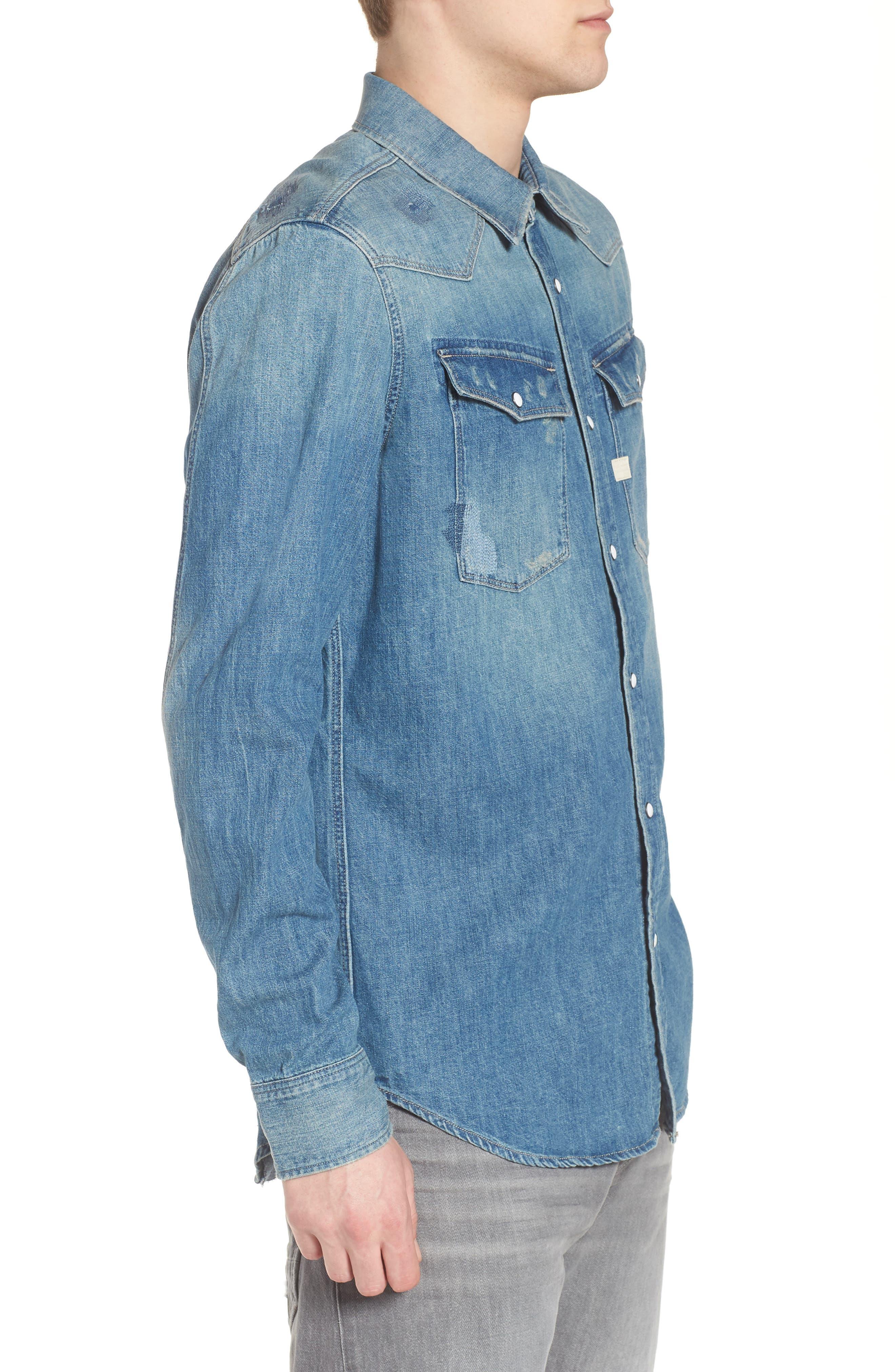 3301 Graft Denim Shirt,                             Alternate thumbnail 3, color,