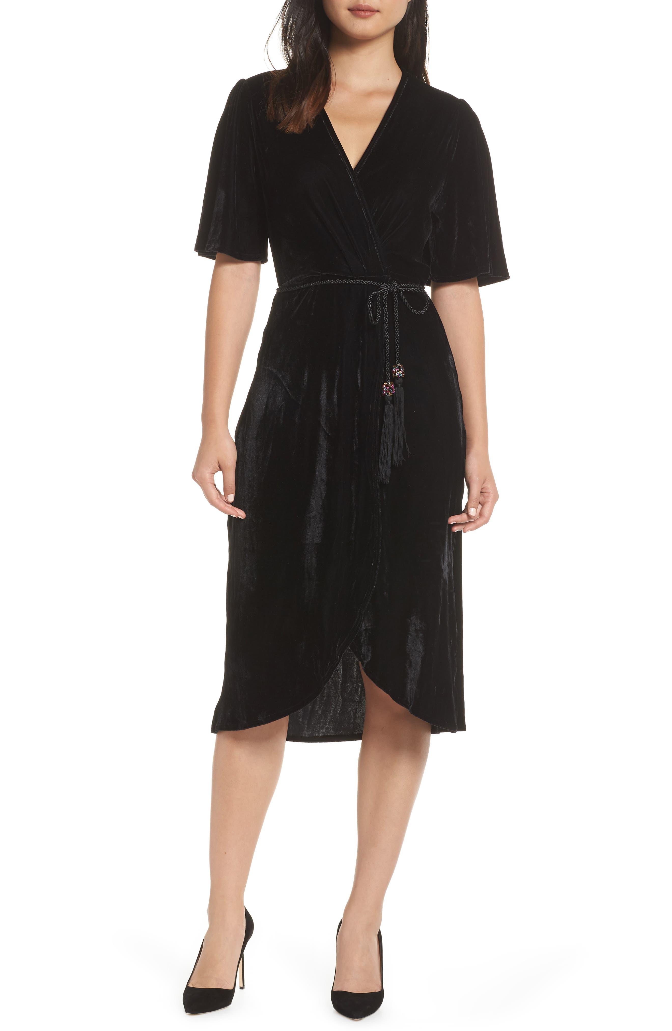 70s Dresses – Disco Dresses, Hippie Dresses, Wrap Dresses Blue Womens Fraiche By J Velvet Faux Wrap Dress $114.00 AT vintagedancer.com