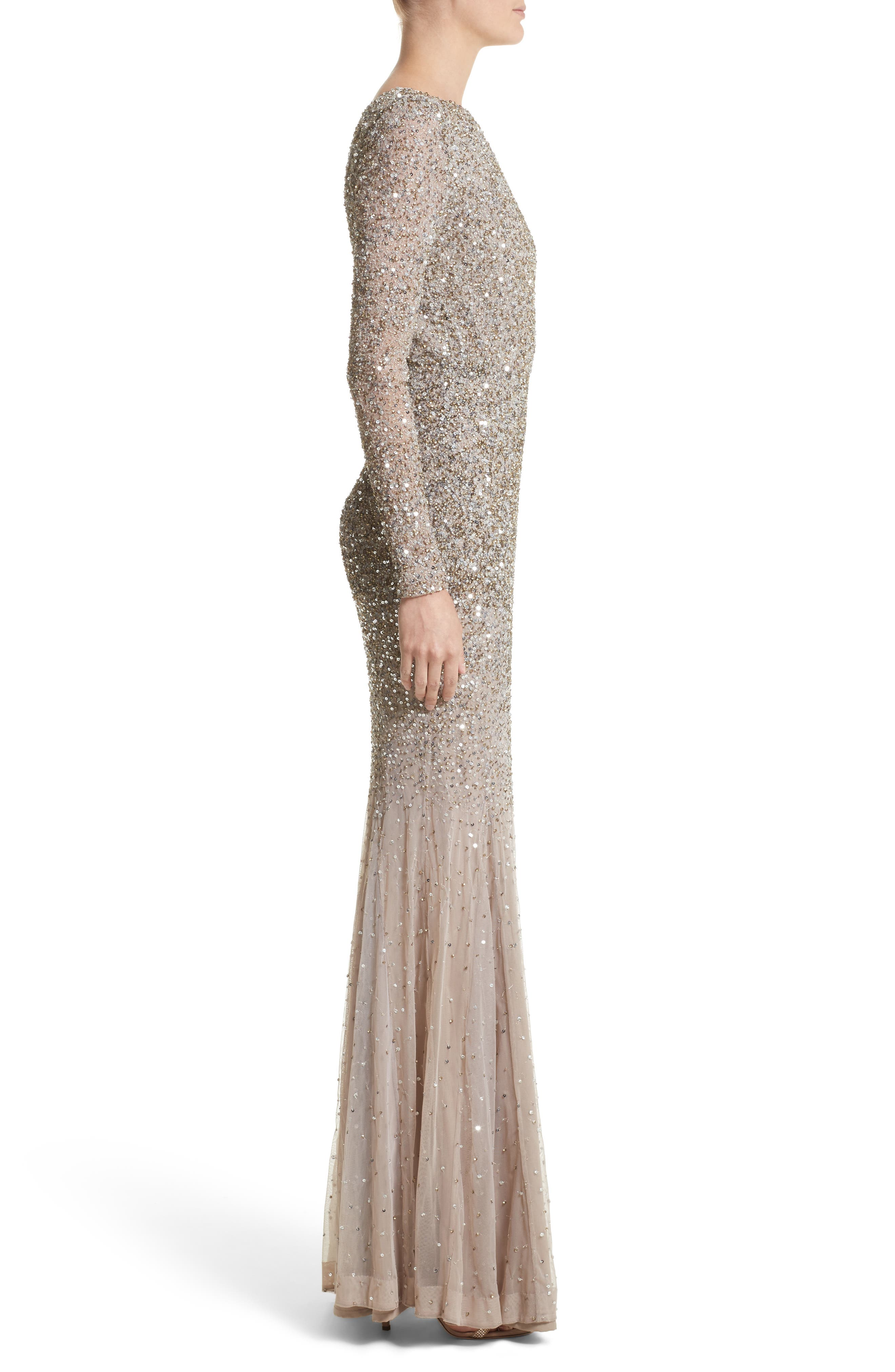 Viera Embellished V-Back Mermaid Gown,                             Alternate thumbnail 3, color,                             240